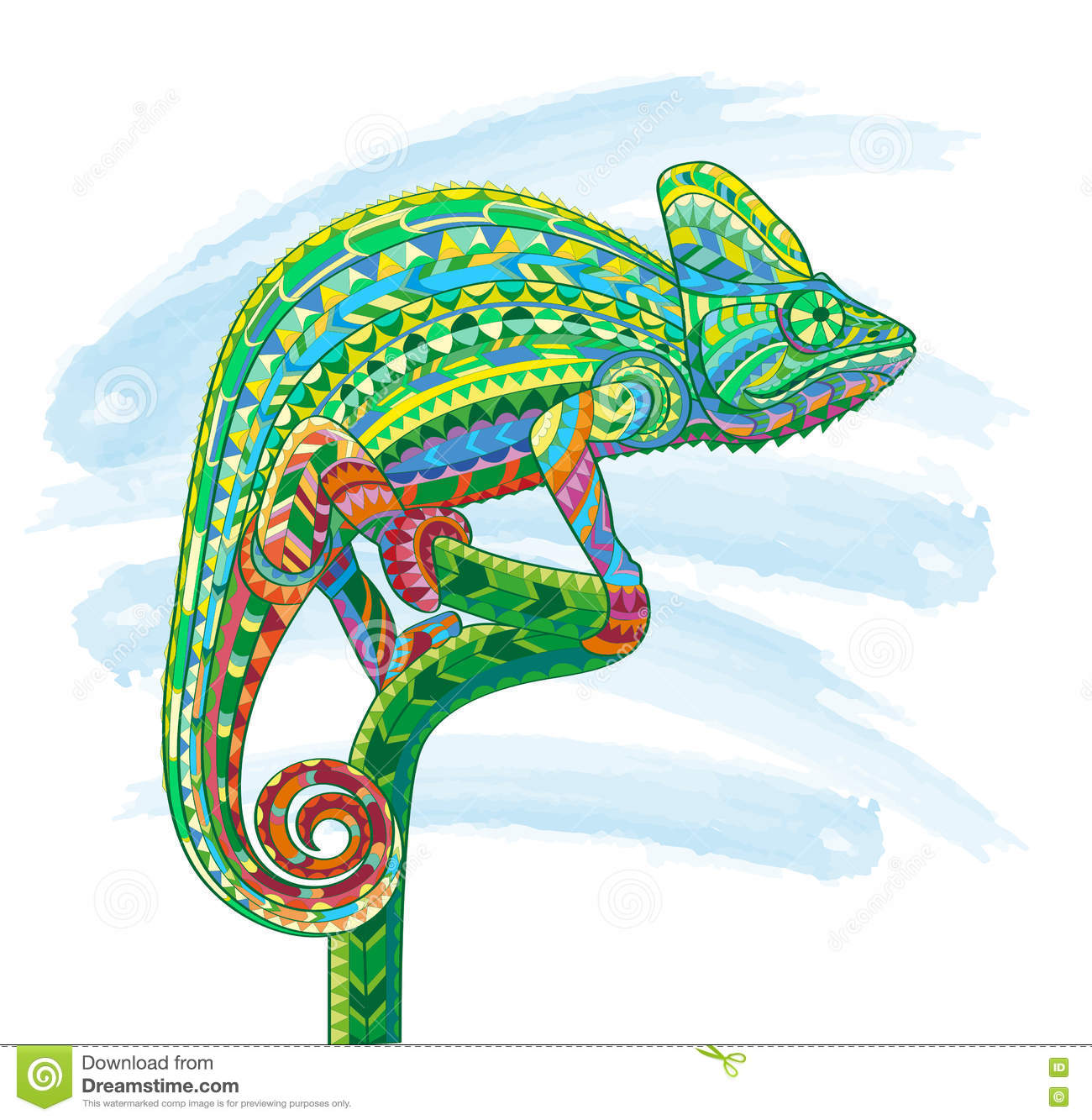 Hand Drawn Colored Doodle Outline Chameleon Illustration