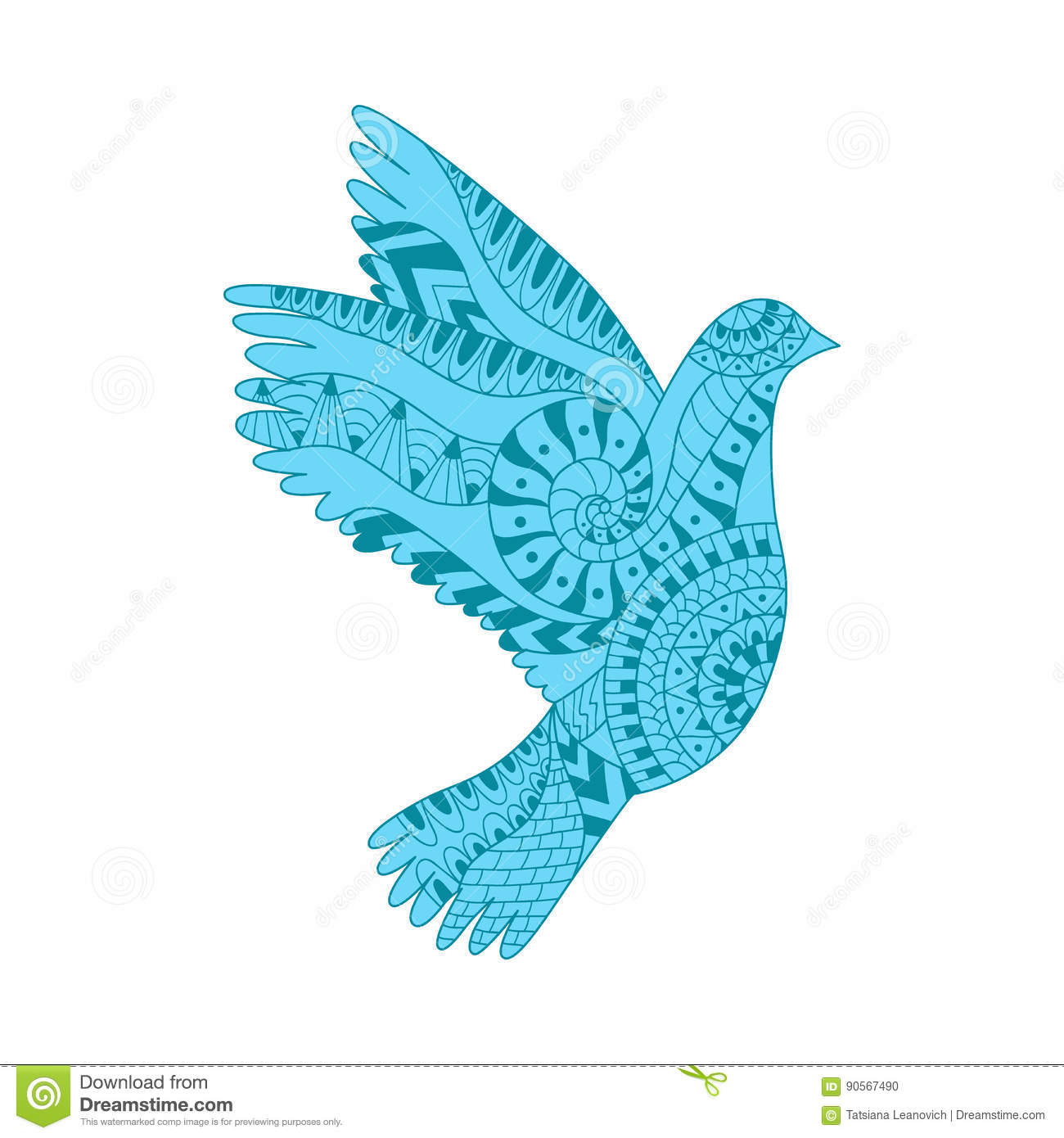 Hand Drawn Colorful Flying Dove In Zentangle Style  Stock