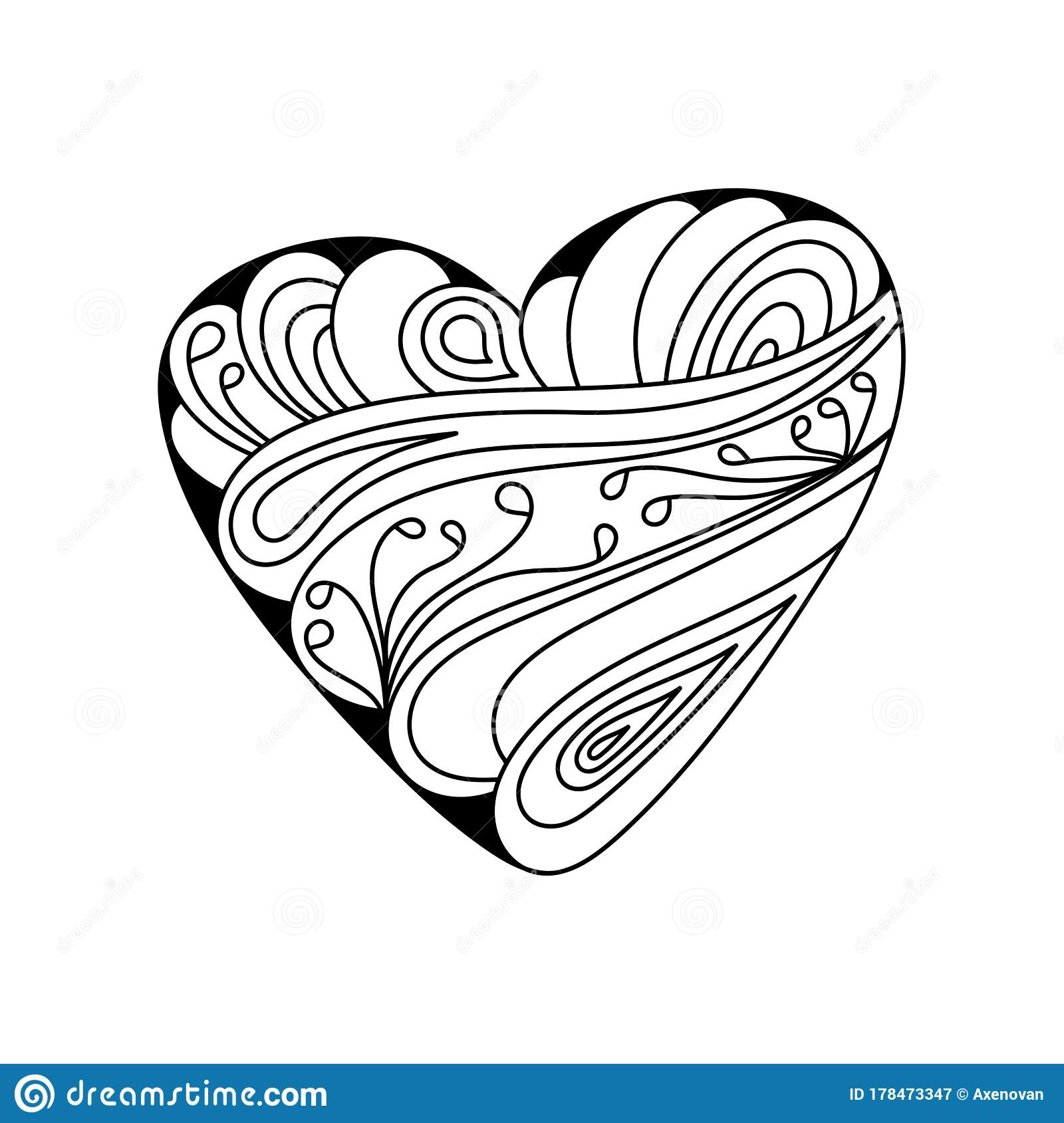 Hand Drawn Coloring Book Beautiful Heart With Ornate Ornaments Anti Stress Coloring Pages For Adults And Children Vector Stock Illustration Illustration Of Drawing Color 178473347