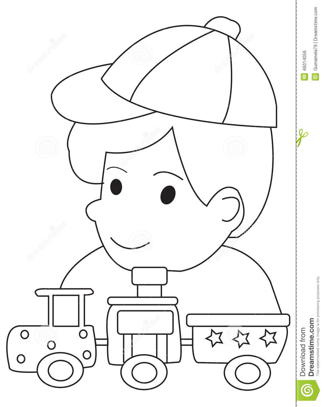 hand drawn coloring page of a boy and his toy trains stock