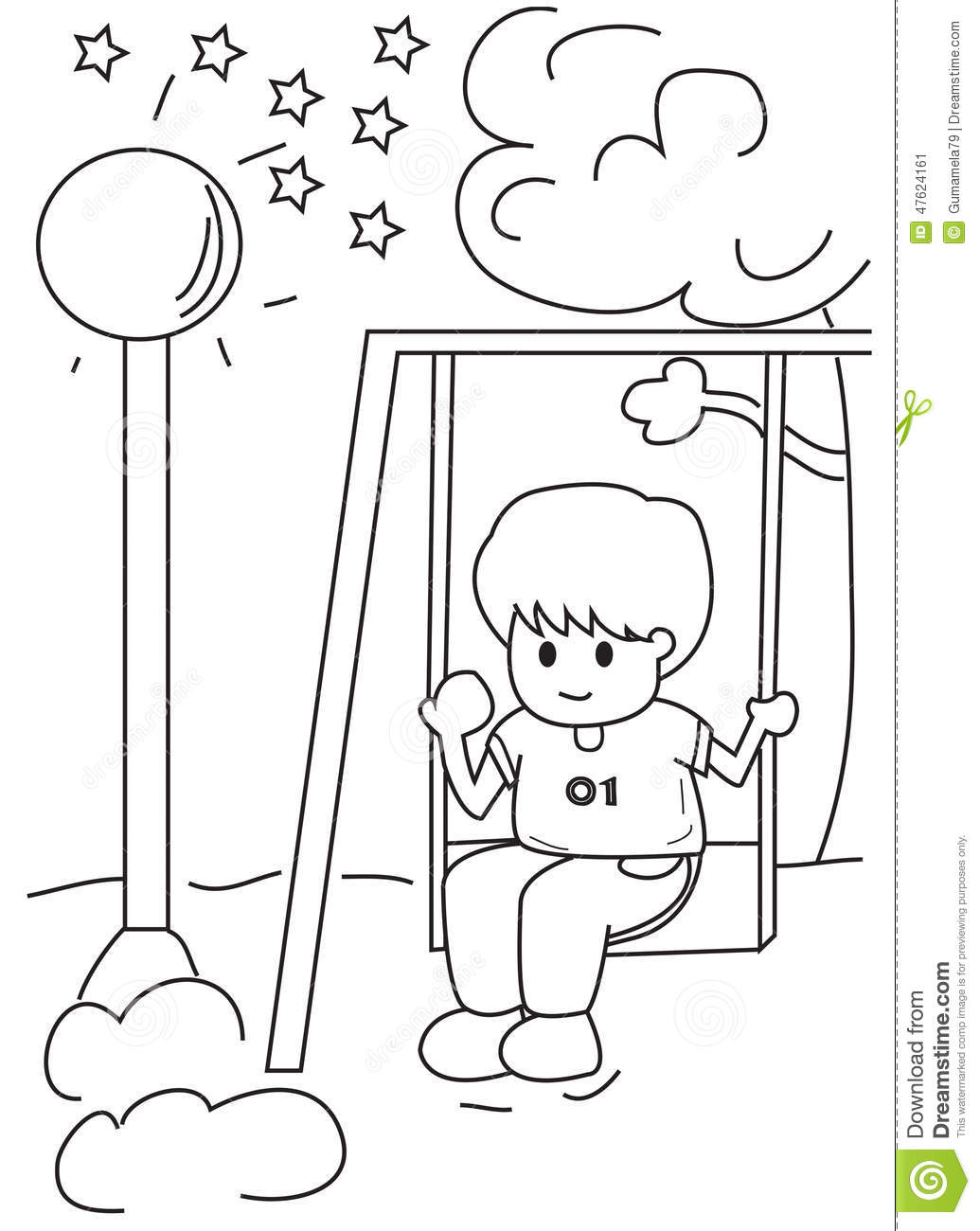 hand drawn coloring page of a boy on a swing stock illustration