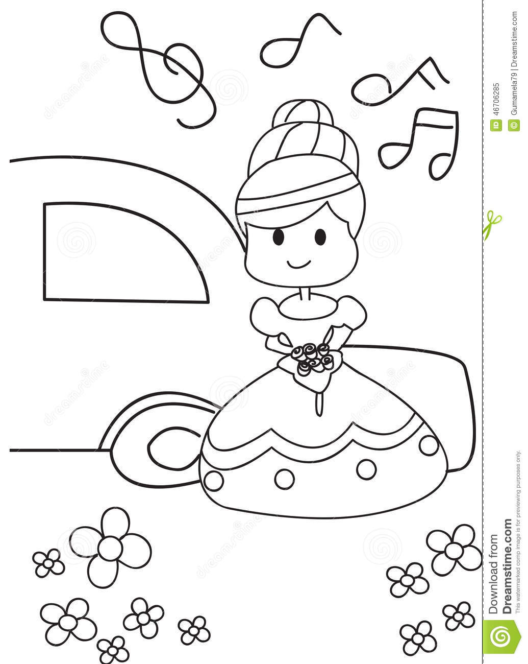 hand drawn coloring page of a bride getting married stock