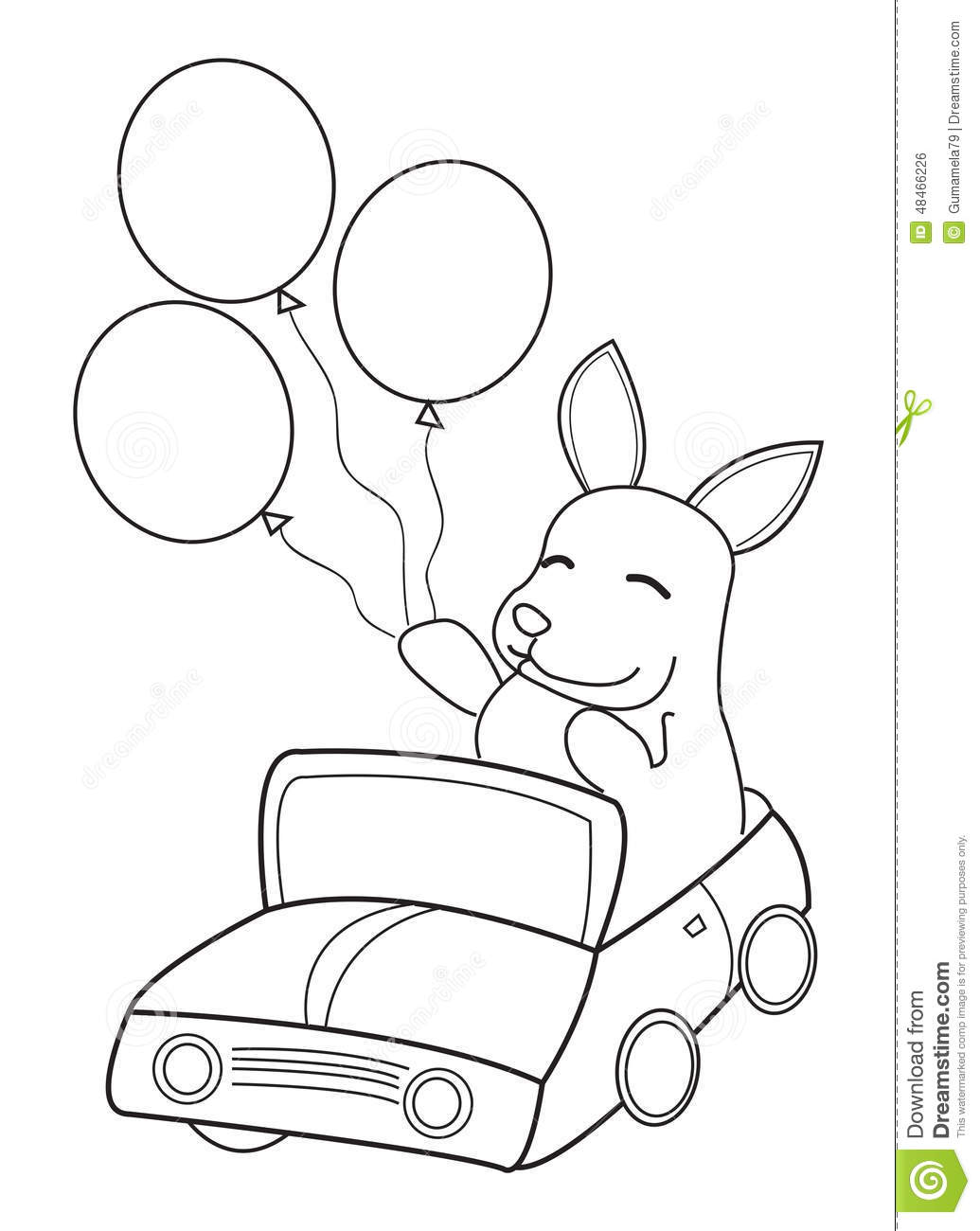 hand drawn coloring page of a bunny riding in a car with balloons