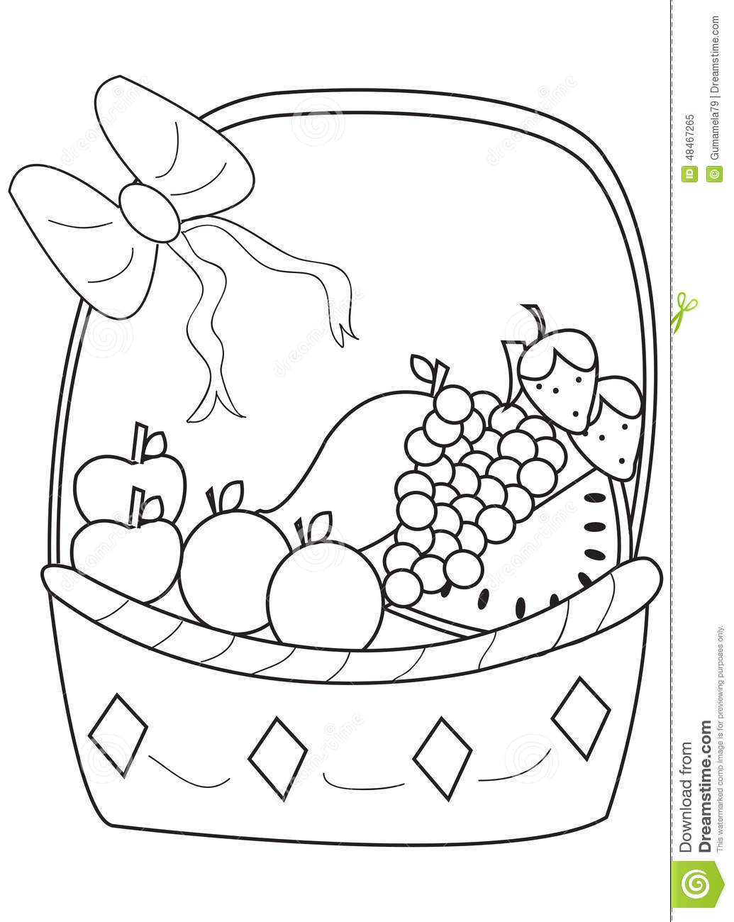 Stock Illustration Hand Drawn Coloring Page Fruit Basket Cartoon Healthy Delicious Image48467265 on Healthy Food Coloring Pages For Kids