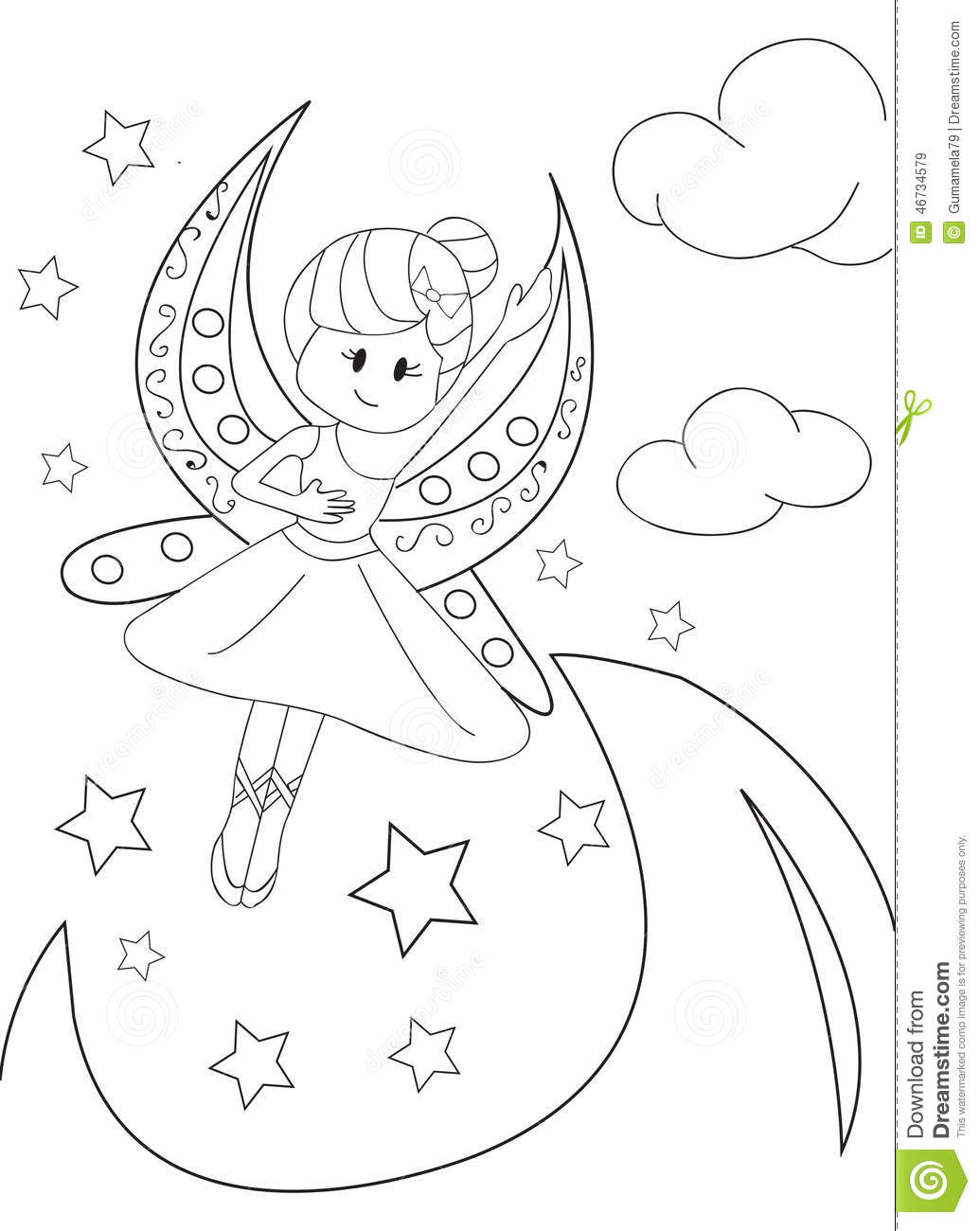 hand drawn coloring page of a moon fairy stock illustration