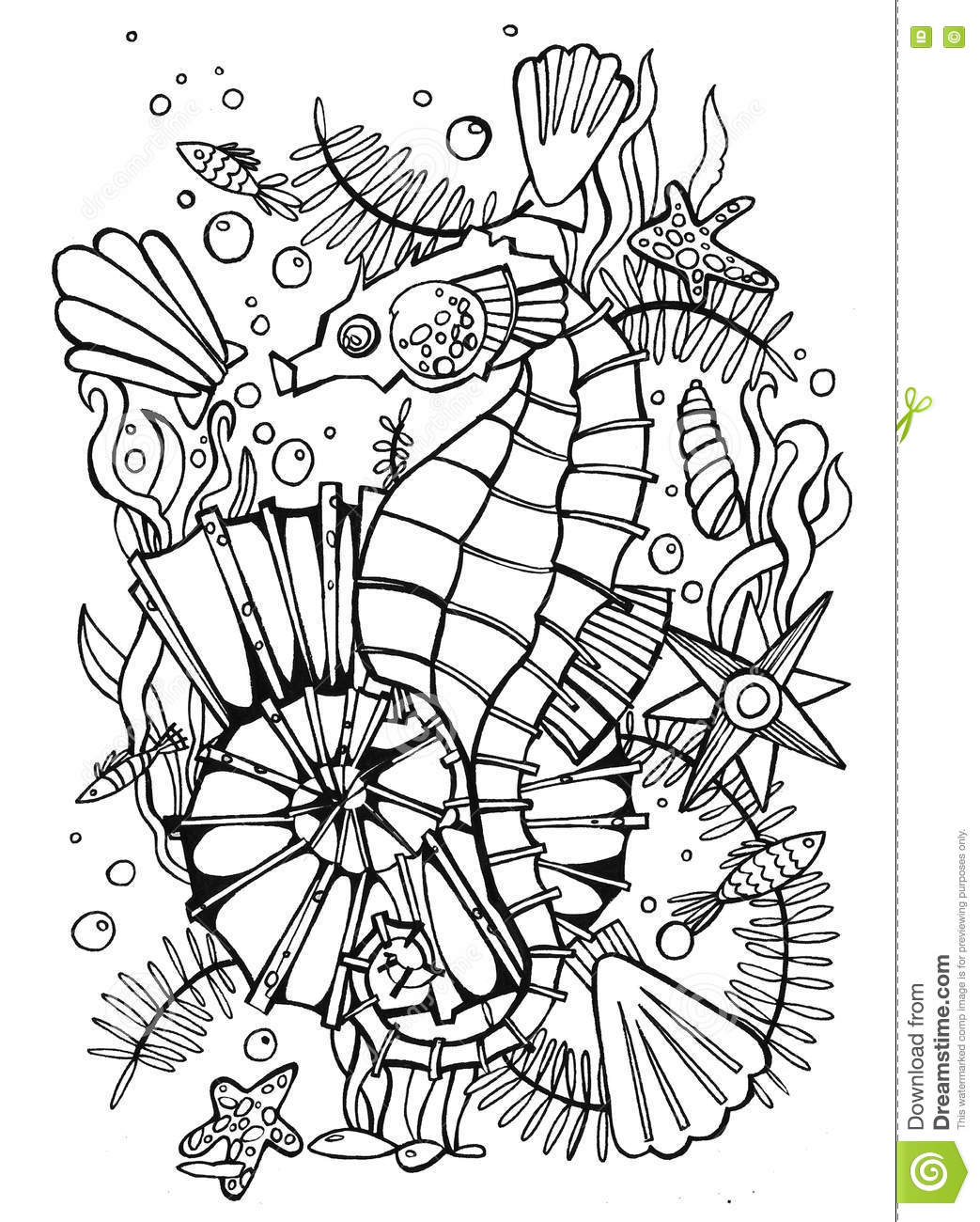 Hand Drawn Coloring Page Sea Stock Illustration