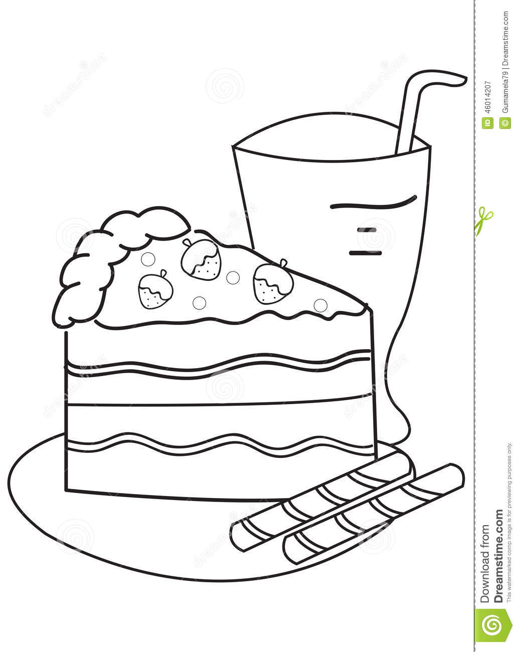 Hand Drawn Coloring Page Of A Slice Of Cake And Drink