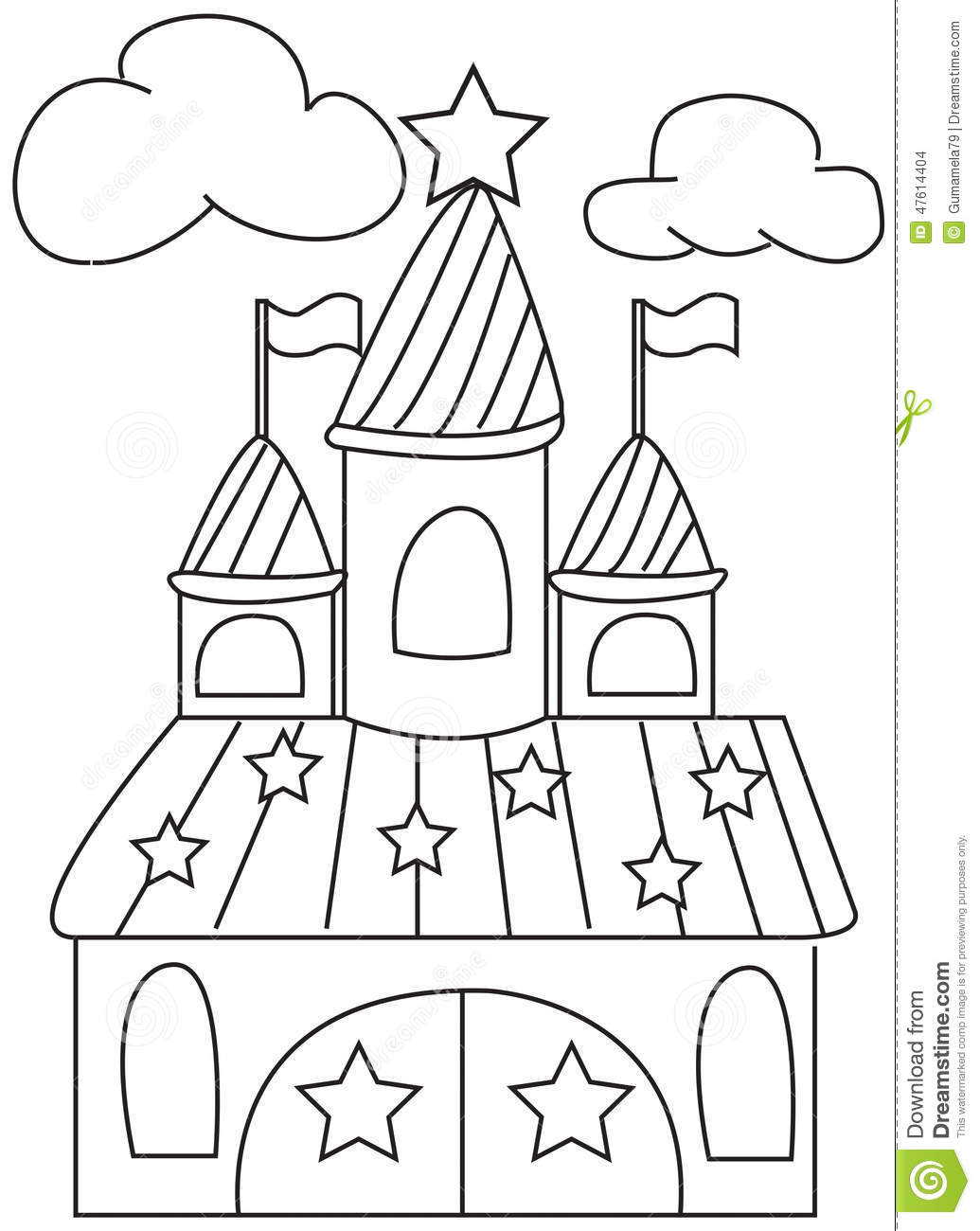 Hand Drawn Coloring Page Of A Star Castle Stock
