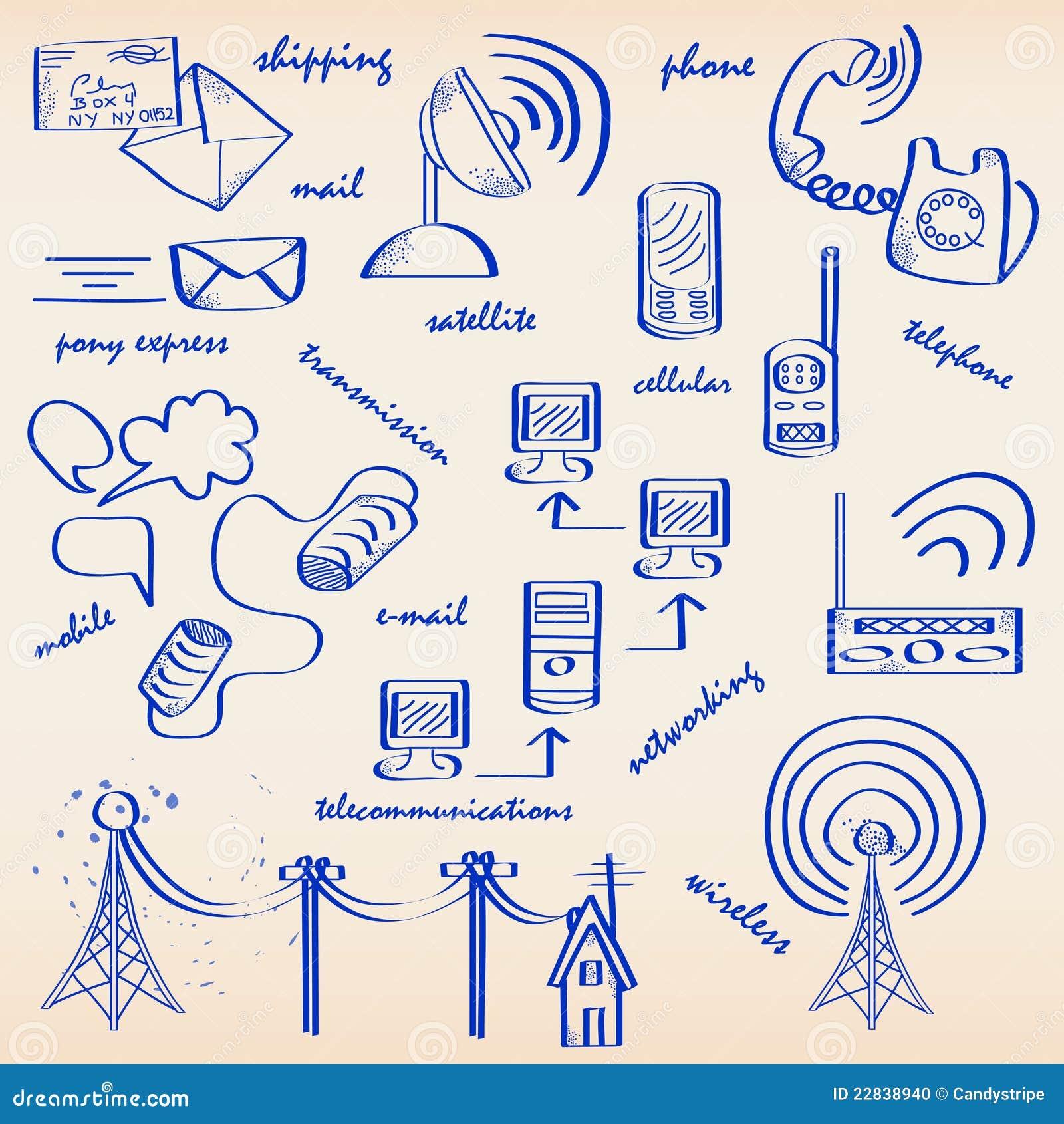 Hand Drawn Communication Icon Set Stock Photo Image