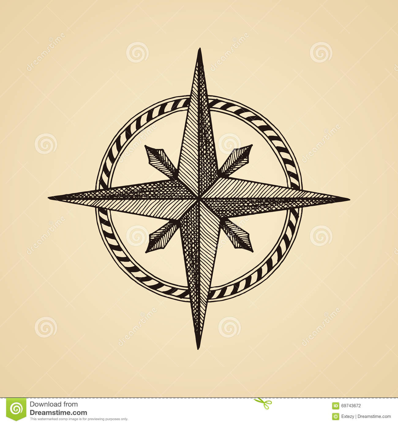 hand drawn compass wind rose symbol stock vector illustration of paper cartography 69743672. Black Bedroom Furniture Sets. Home Design Ideas