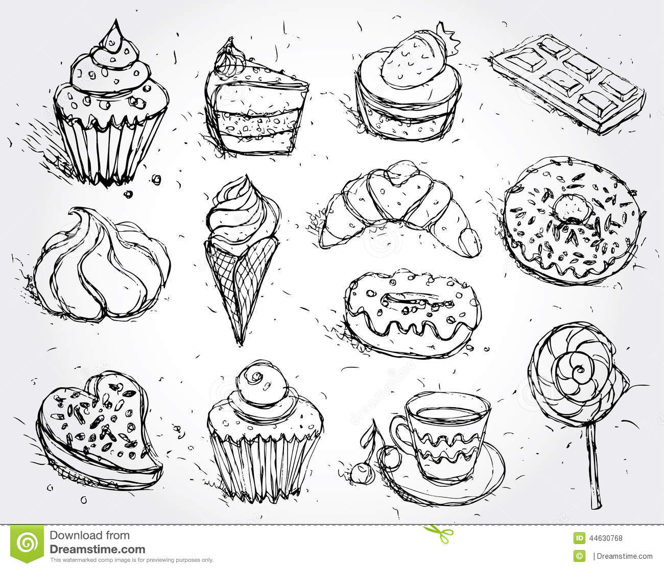 Hand Drawn Confectionery Set Croissant Cupcake Candy