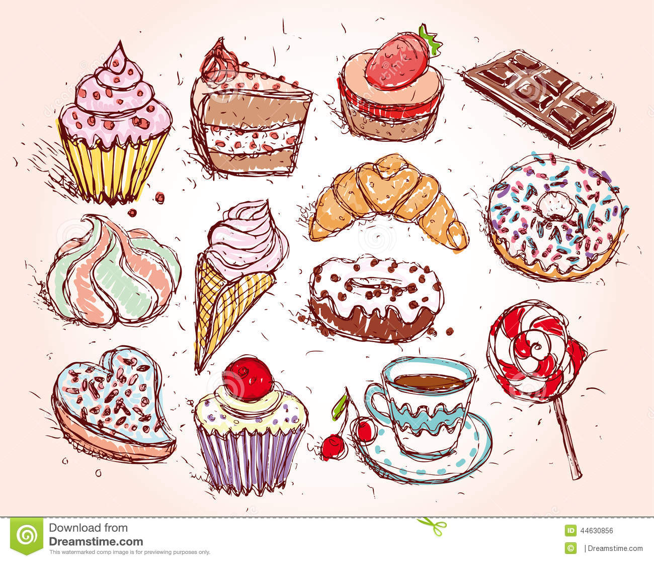Cake Candy Coffee Confectionery Cream Cupcake Drawn Hand Set Cakes