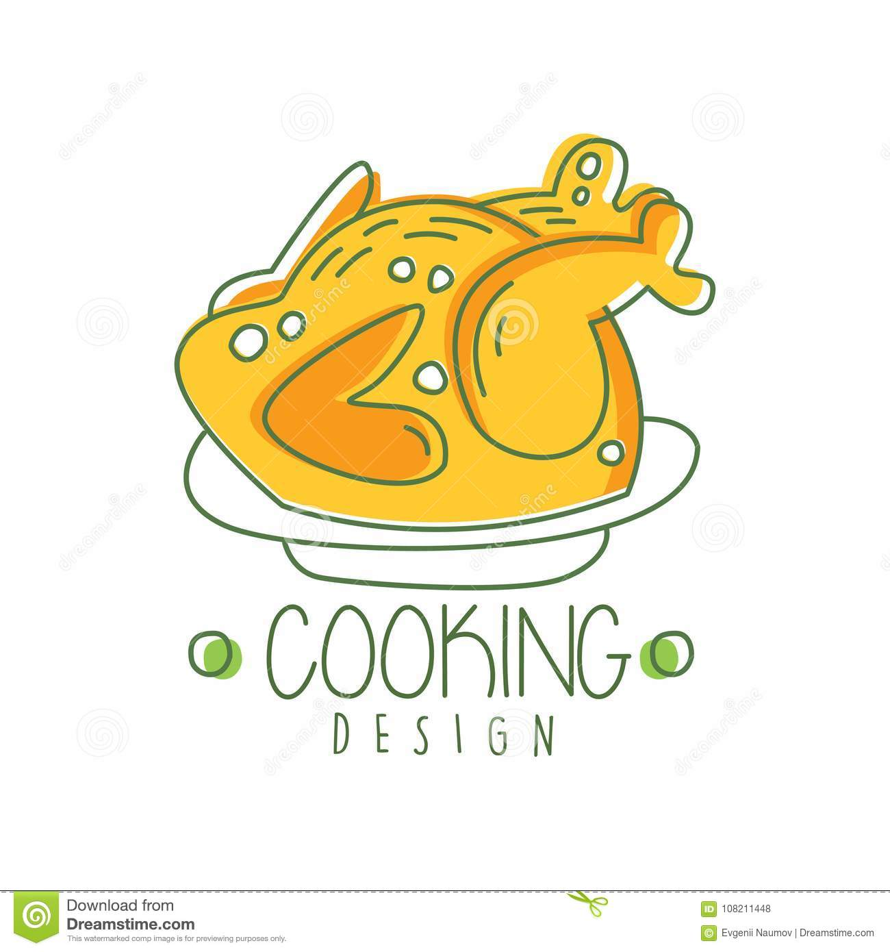 Hand Drawn Cooking Logo Original Design With Baked Chicken On A Plate Abstract Kids Drawing For Home Kitchen Food Creative Line Label Cafe Menu