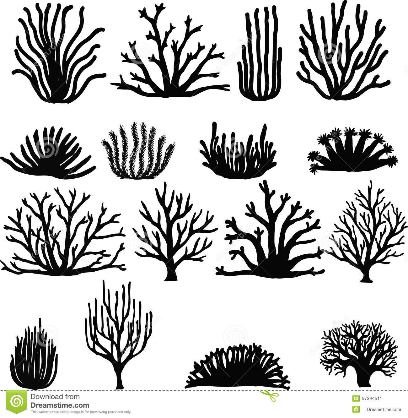 Hand Drawn Corals On White. Silhouette Icons Stock Vector