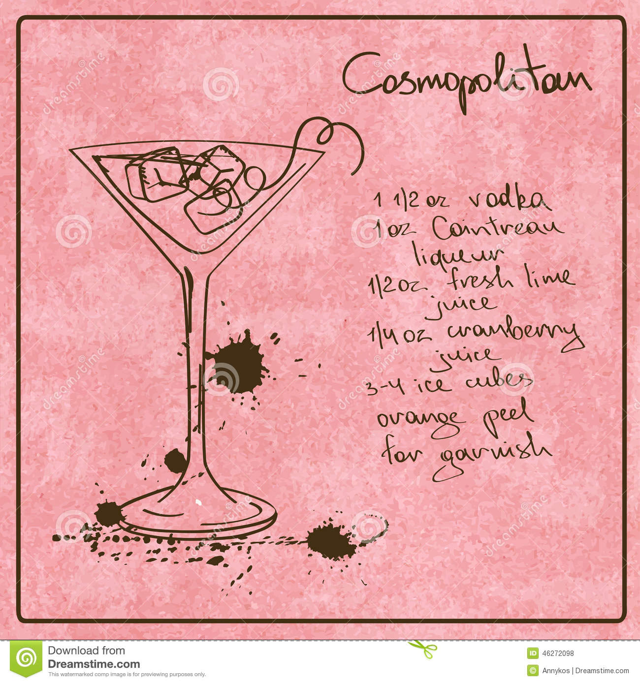 Hand drawn cosmopolitan cocktail stock vector for Cocktail recipes with ingredients on hand