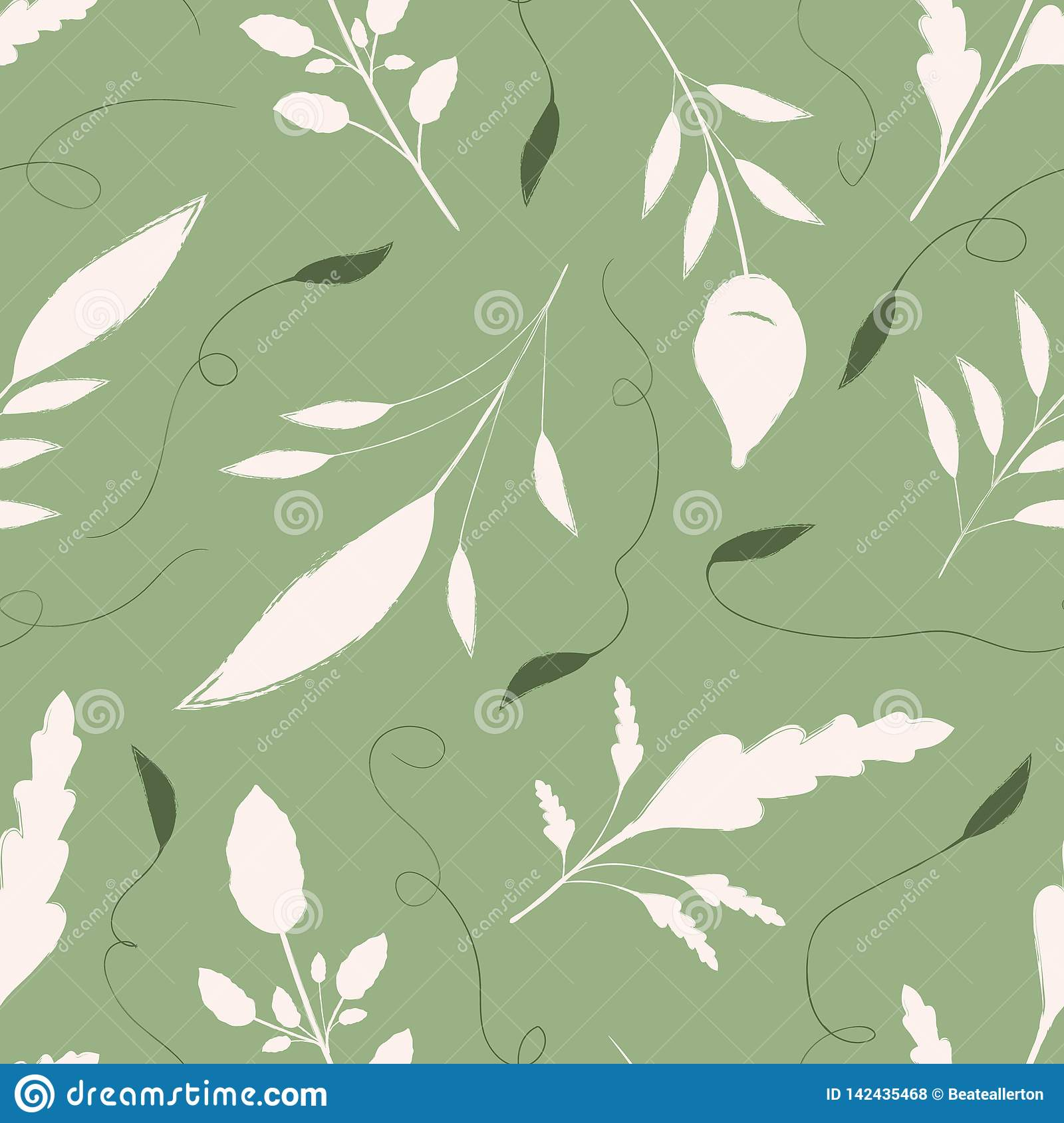 Hand drawn cream and green leaves with ornamental swirls. Seamless vector pattern on warm green background. Great for