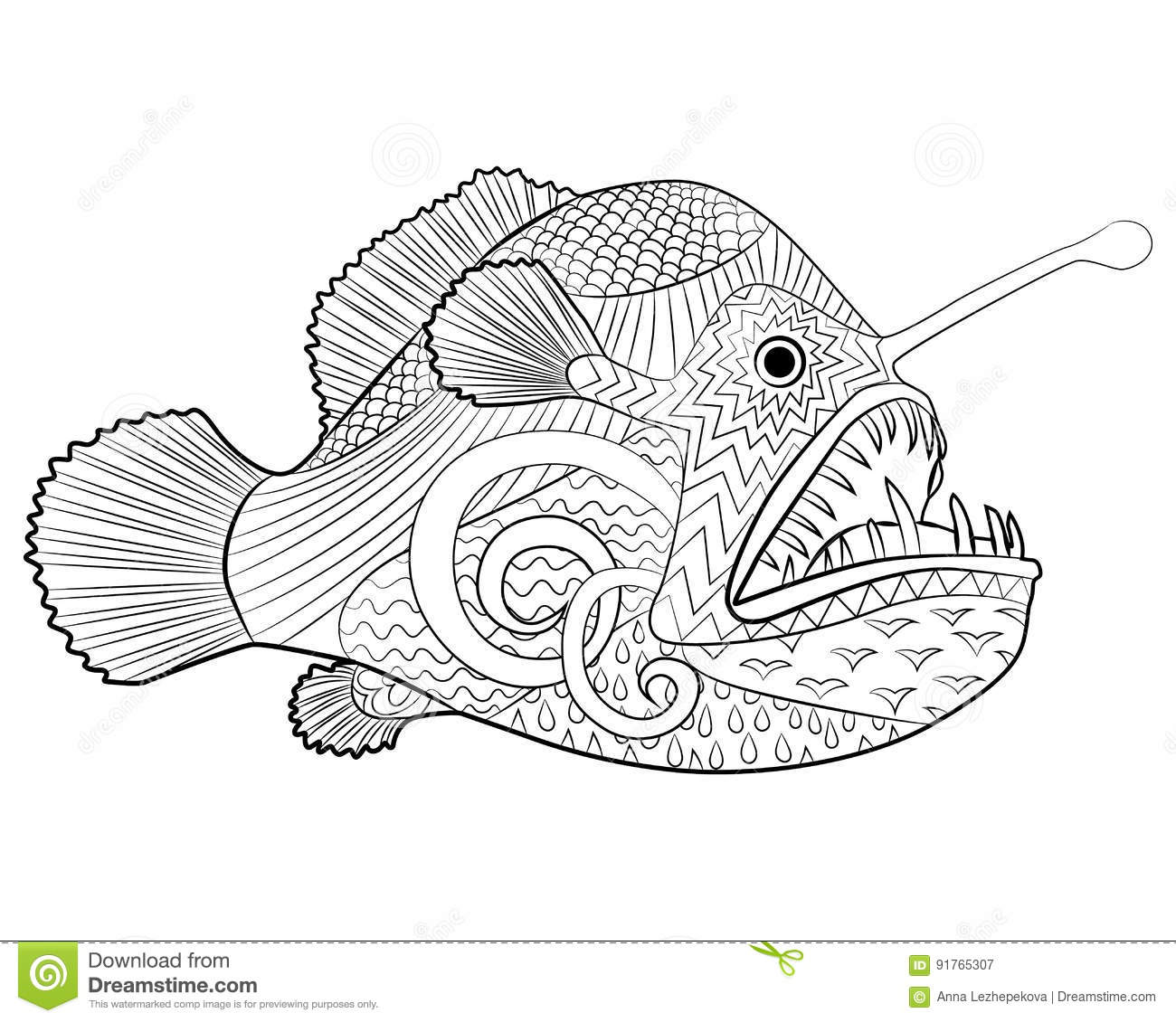 hand drawn creepy fish with high details stock vector image