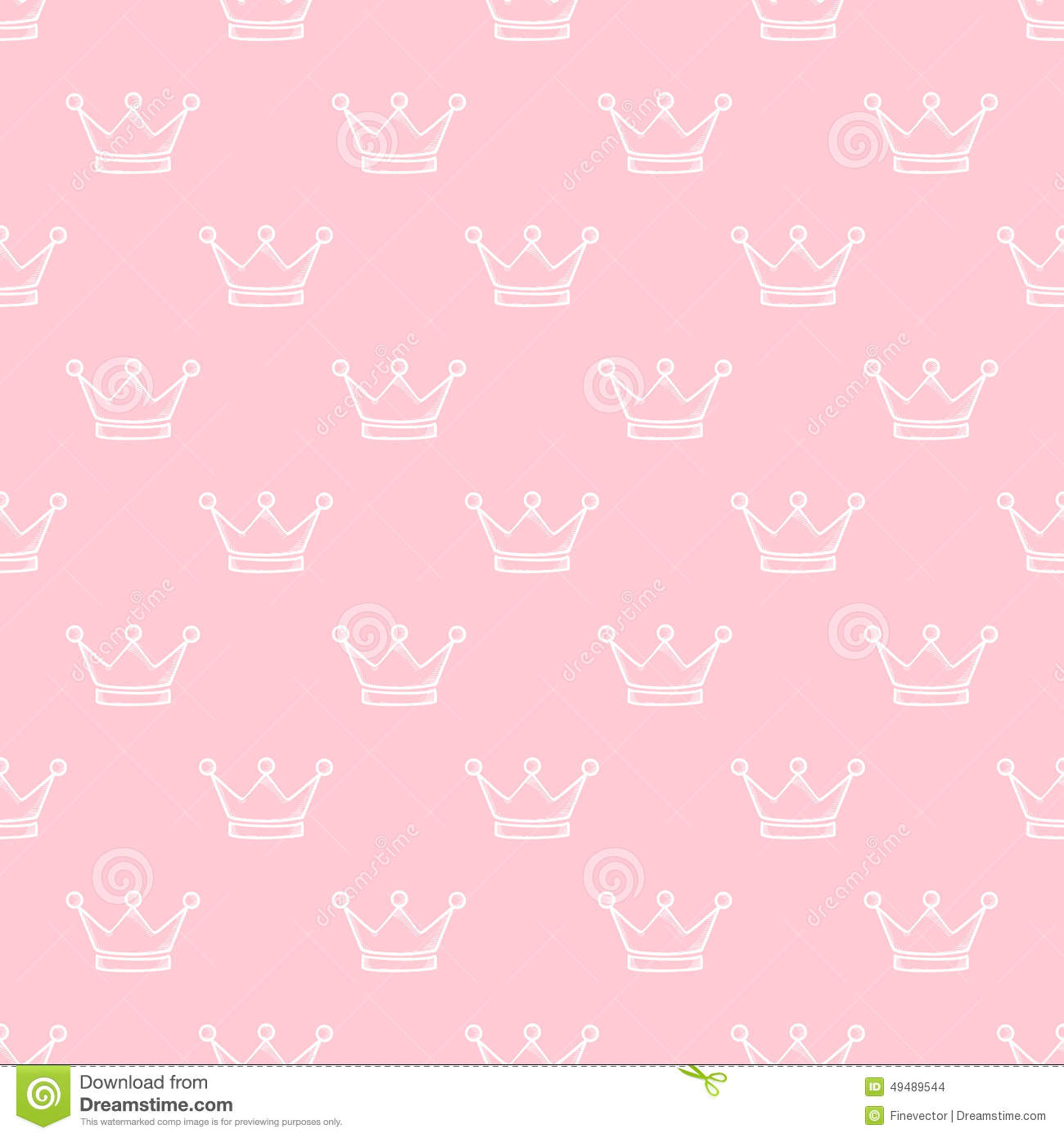 hand drawn crown seamless pattern stock vector