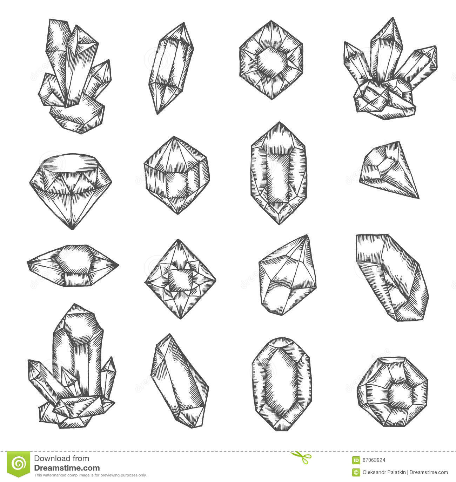 Hand Drawn Crystals Graphic Set Vector Vintage Illustration Stock