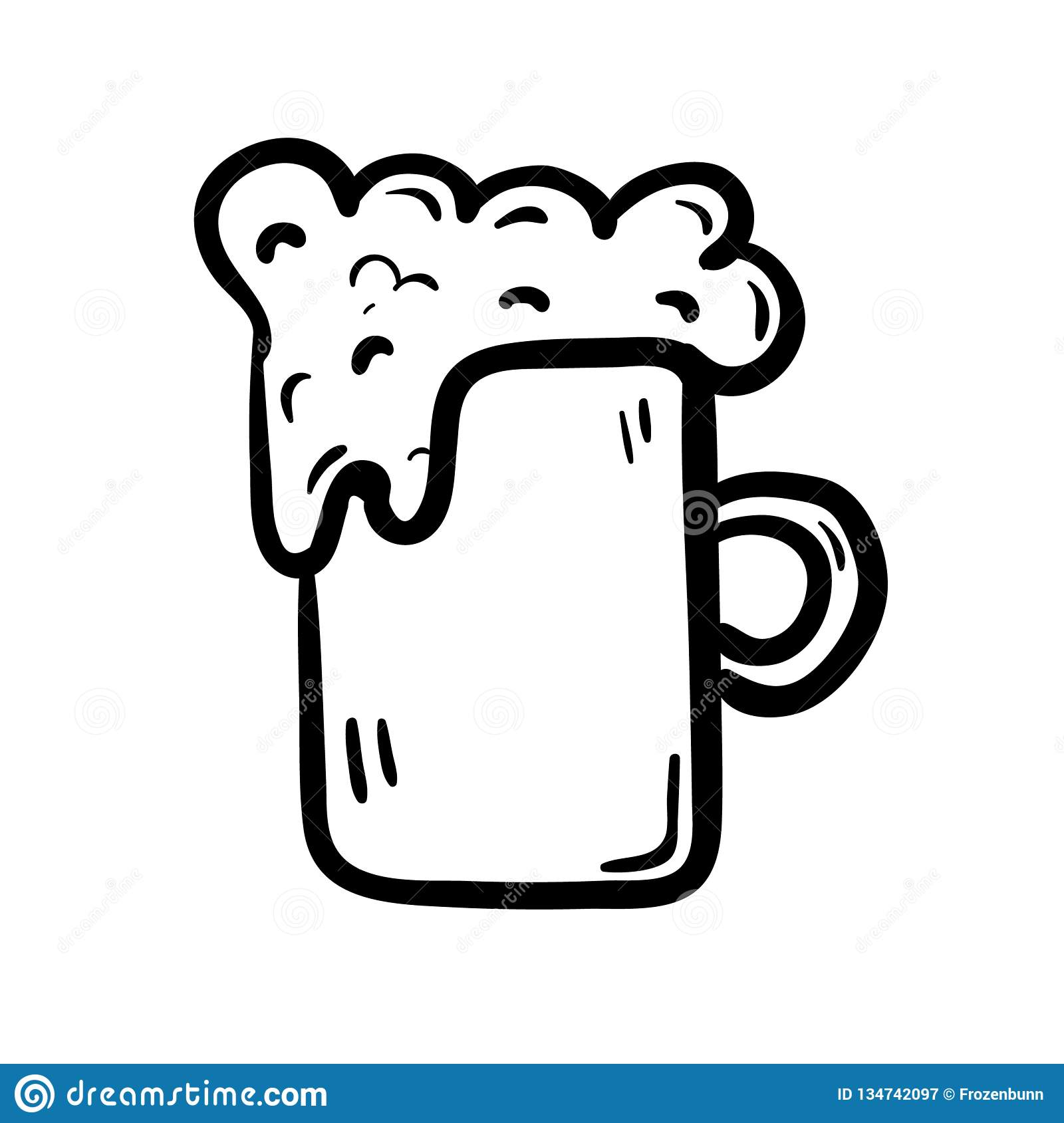 Hand Drawn Cup Of Beer Doodle Icon Hand Drawn Black Sketch Sign Symbol Decoration Element White Background Isolated Flat Stock Vector Illustration Of Restaurant Alcohol 134742097