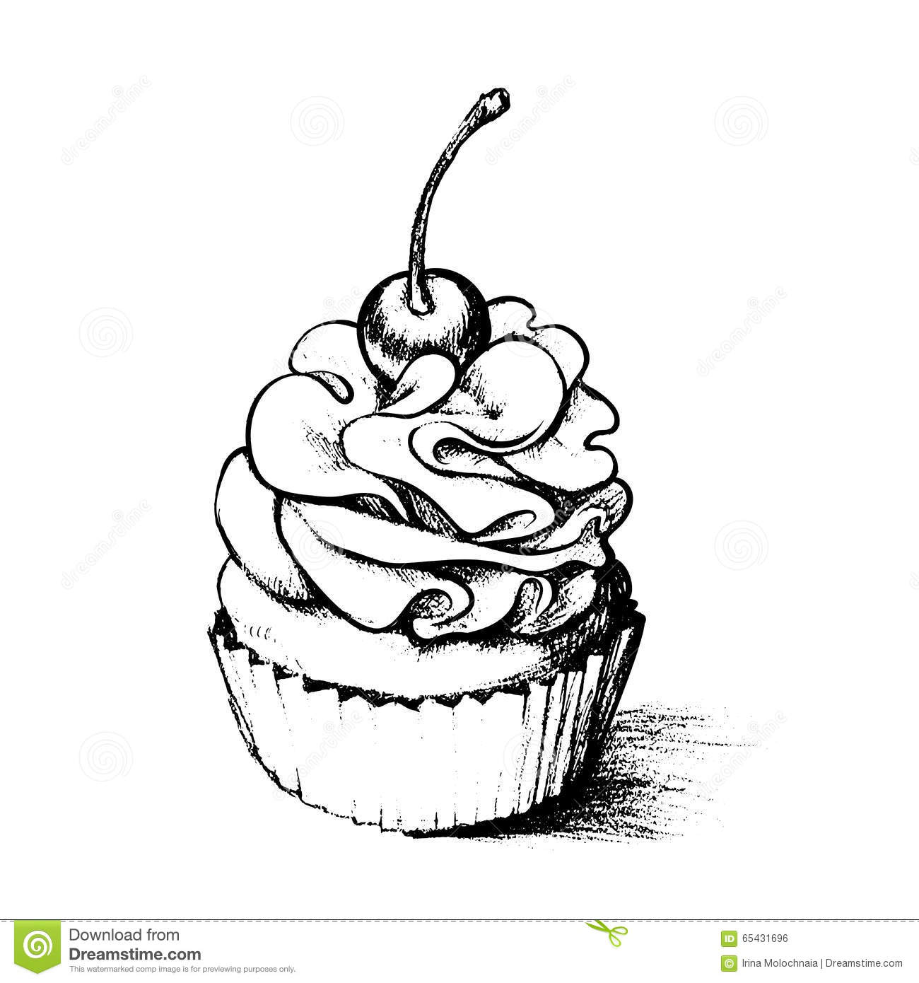 Hand Drawn Cupcake For Coloring Book Stock Vector - Illustration of ...