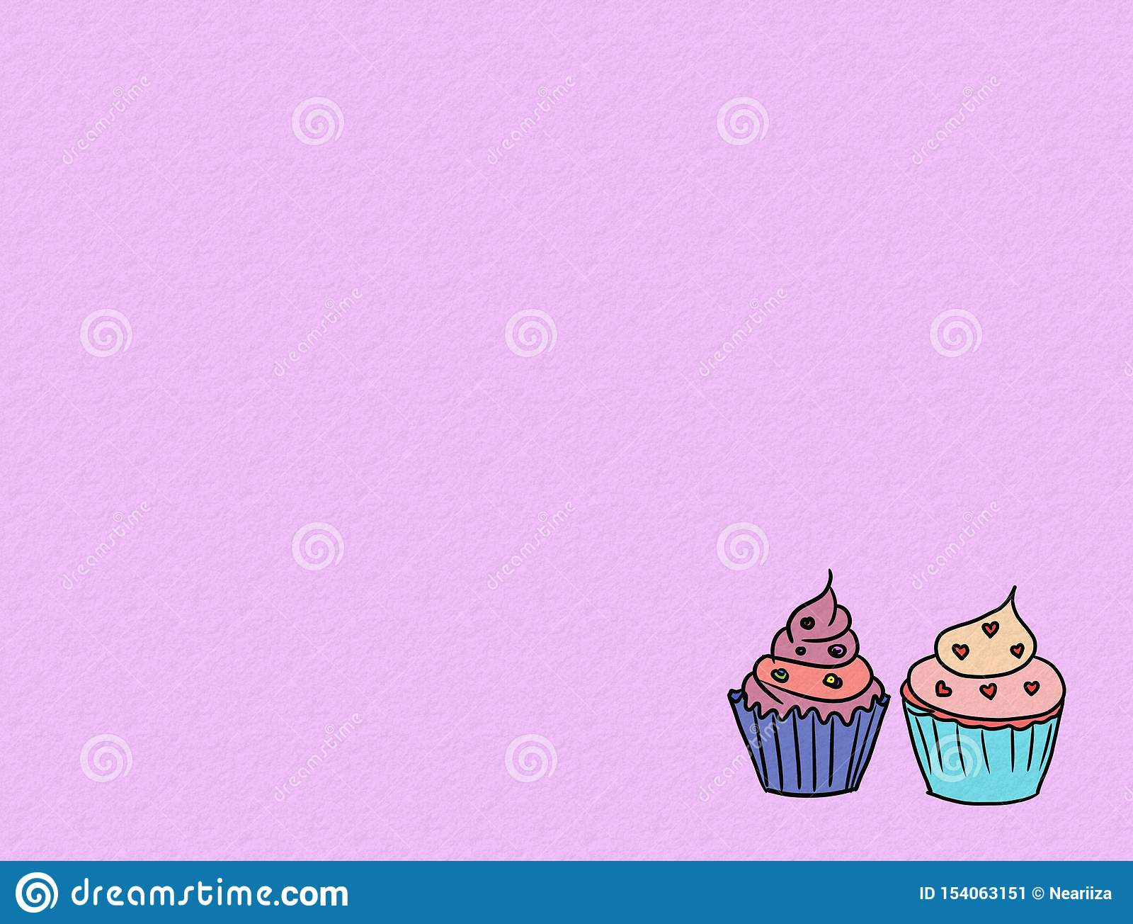 Hand drawn cupcakes on color background, sweet bakery used for desktop wallpaper or website design.-image