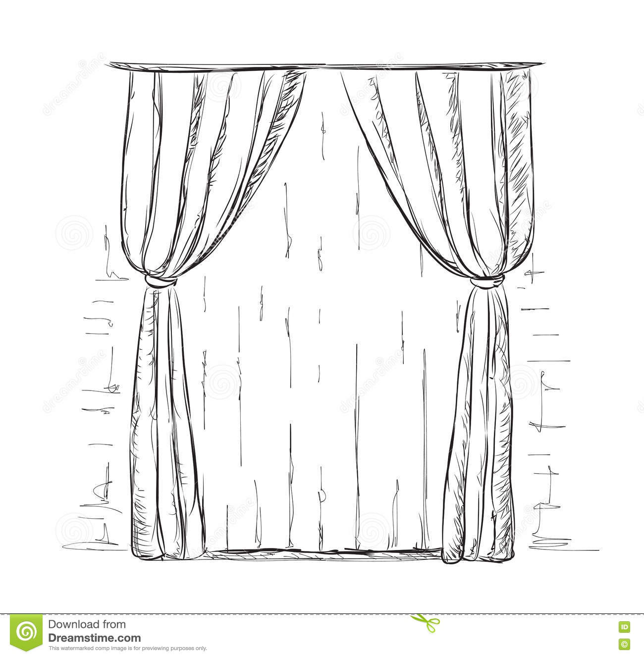 Royalty Free Vector. Download Hand Drawn Curtains ...
