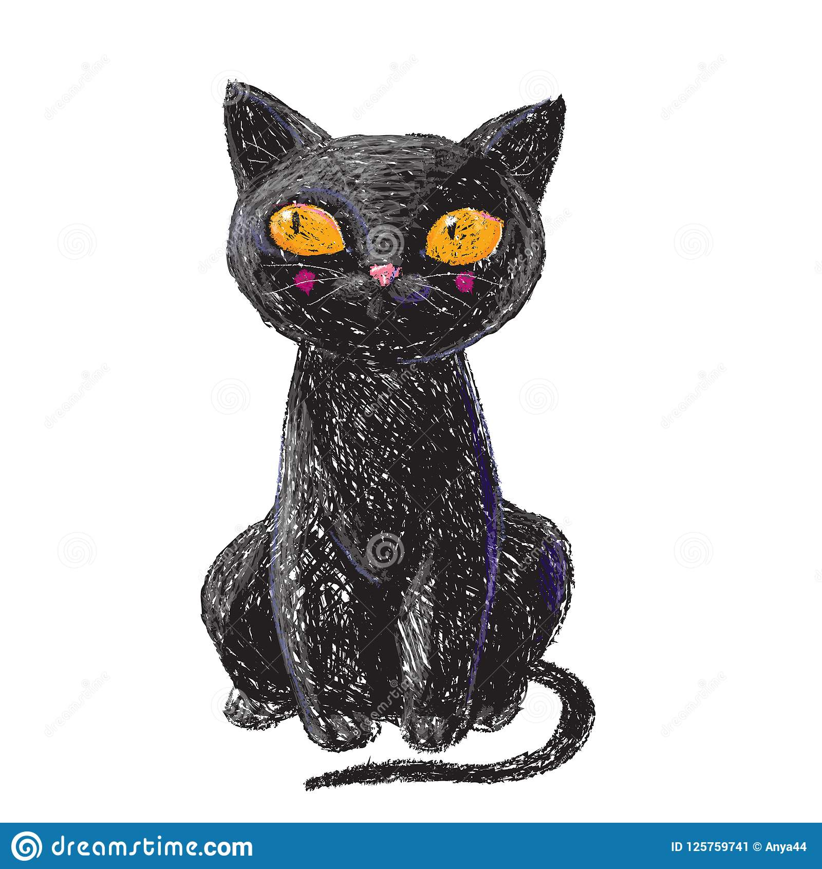 Hand drawn cute black witch cat isolated on white background pencil drawing scary halloween collection
