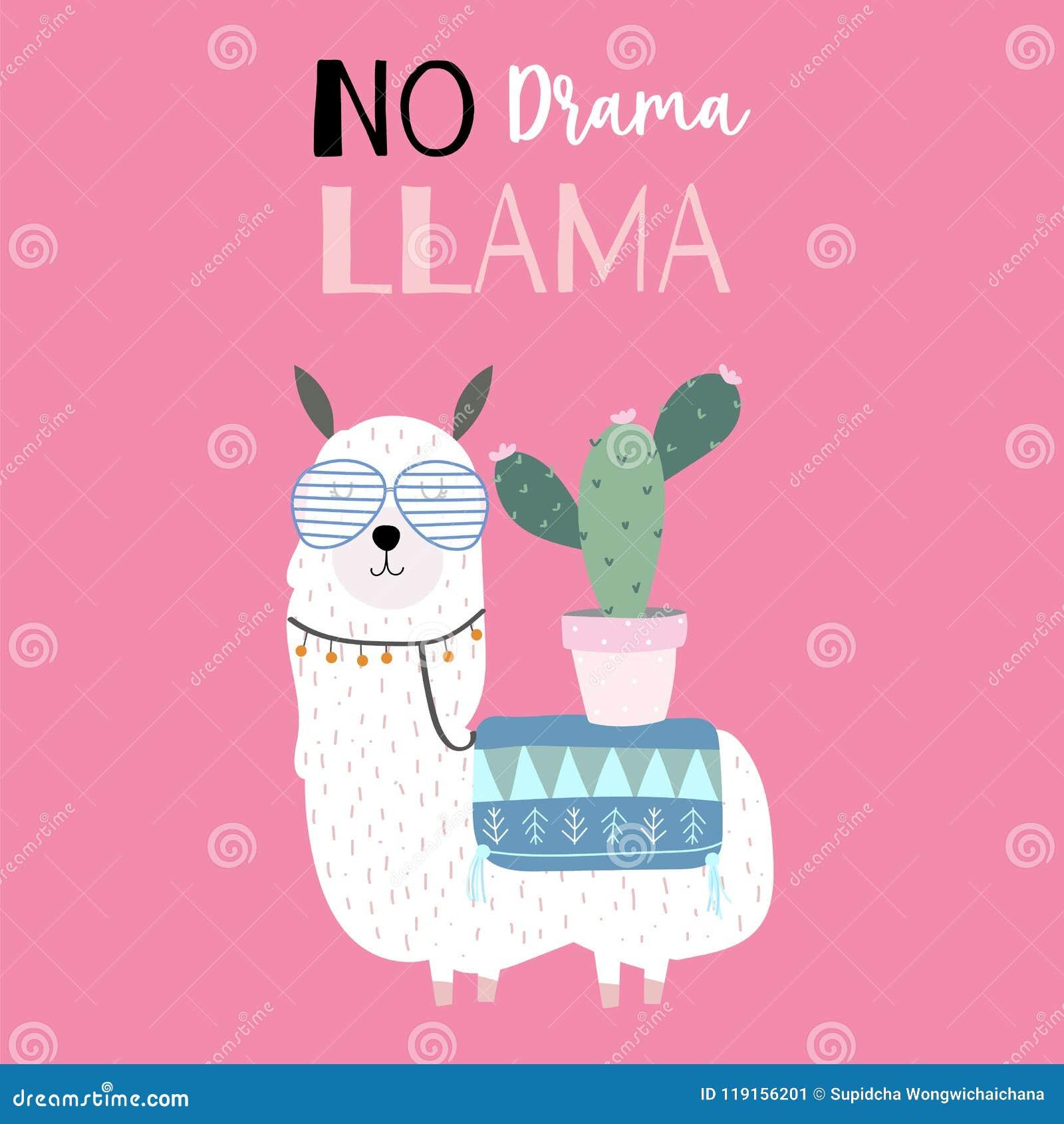 17cb63140 Hand Drawn Cute Card With Llama,cactus.No Drama Stock Vector ...