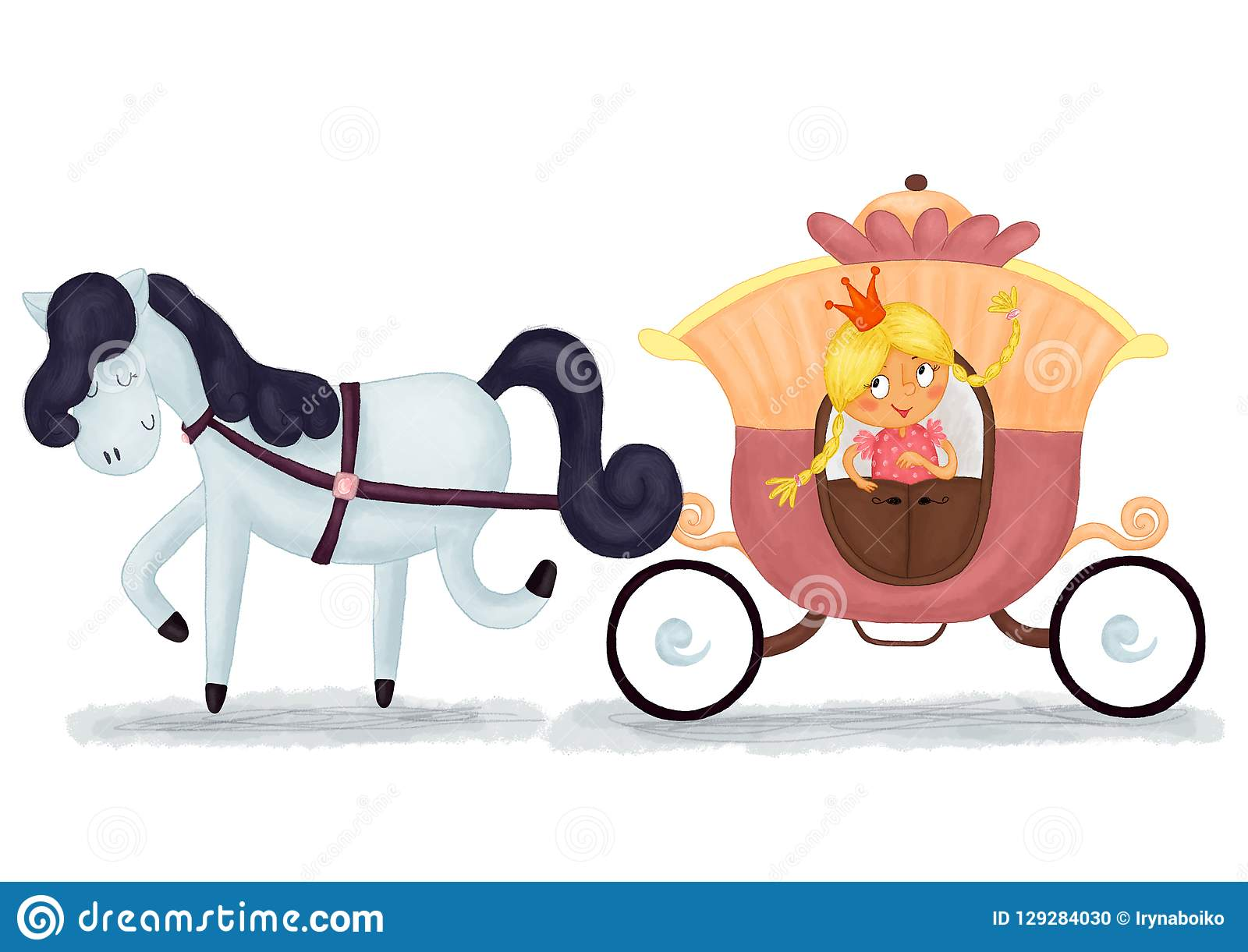 Hand Drawn Cute Cartoon Little Princes And Horse Drawn Carriage Nursery Illustration Stock Illustration Illustration Of Cartoon Design 129284030