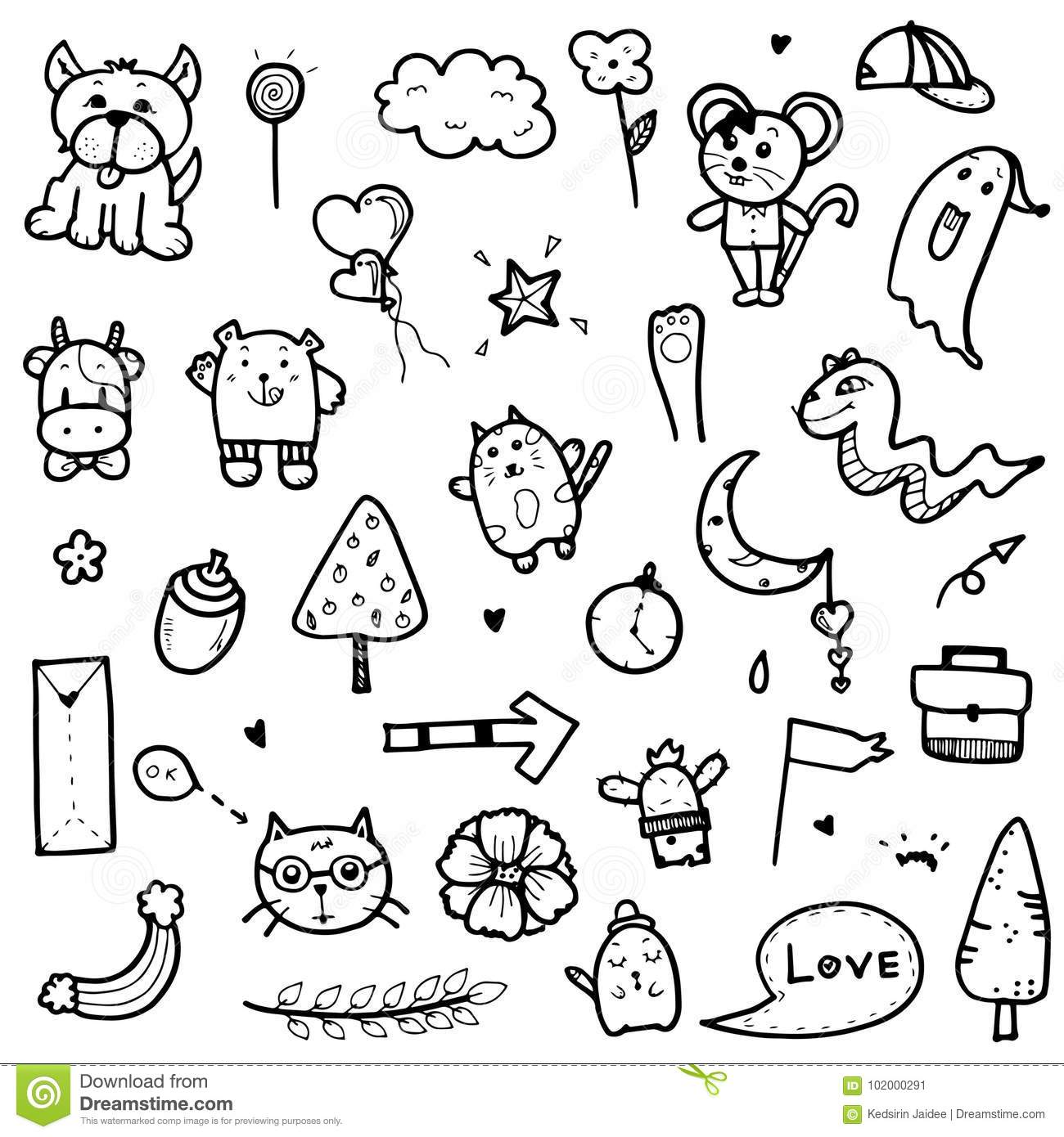 doodles cute vector collection tree animal hand drawn elements arrow illustration objects prints card preview