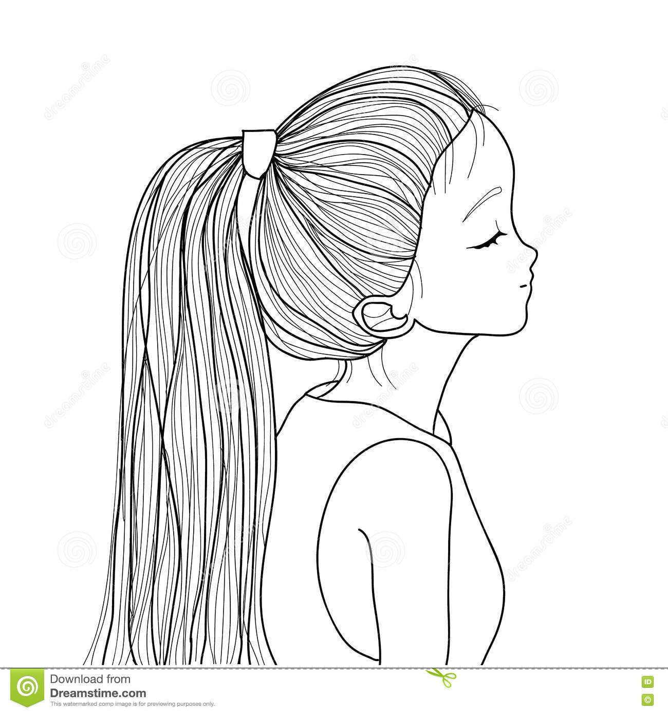Hand Drawn Cute Girl With Ponytail Cartoon Vector