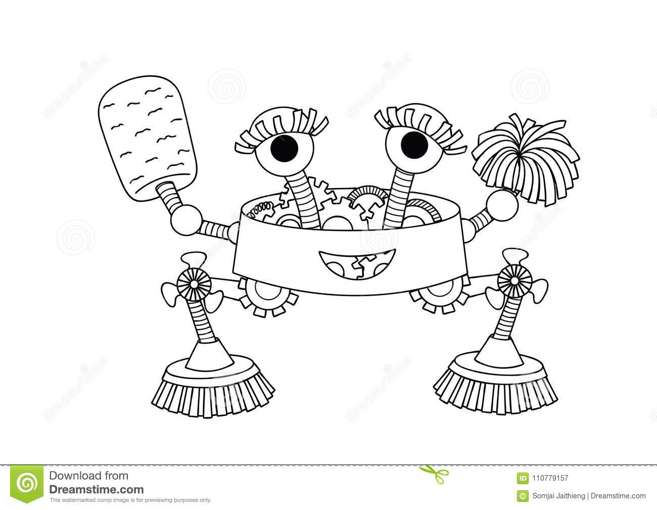 Hand drawn cute housekeeper robot for design element and coloring book page for both kids and adults. Vector illustration