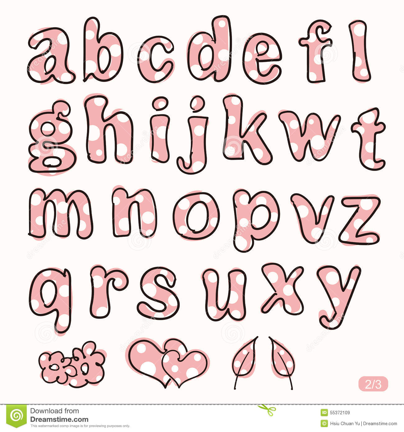 hand drawn cute pink and white dot letters