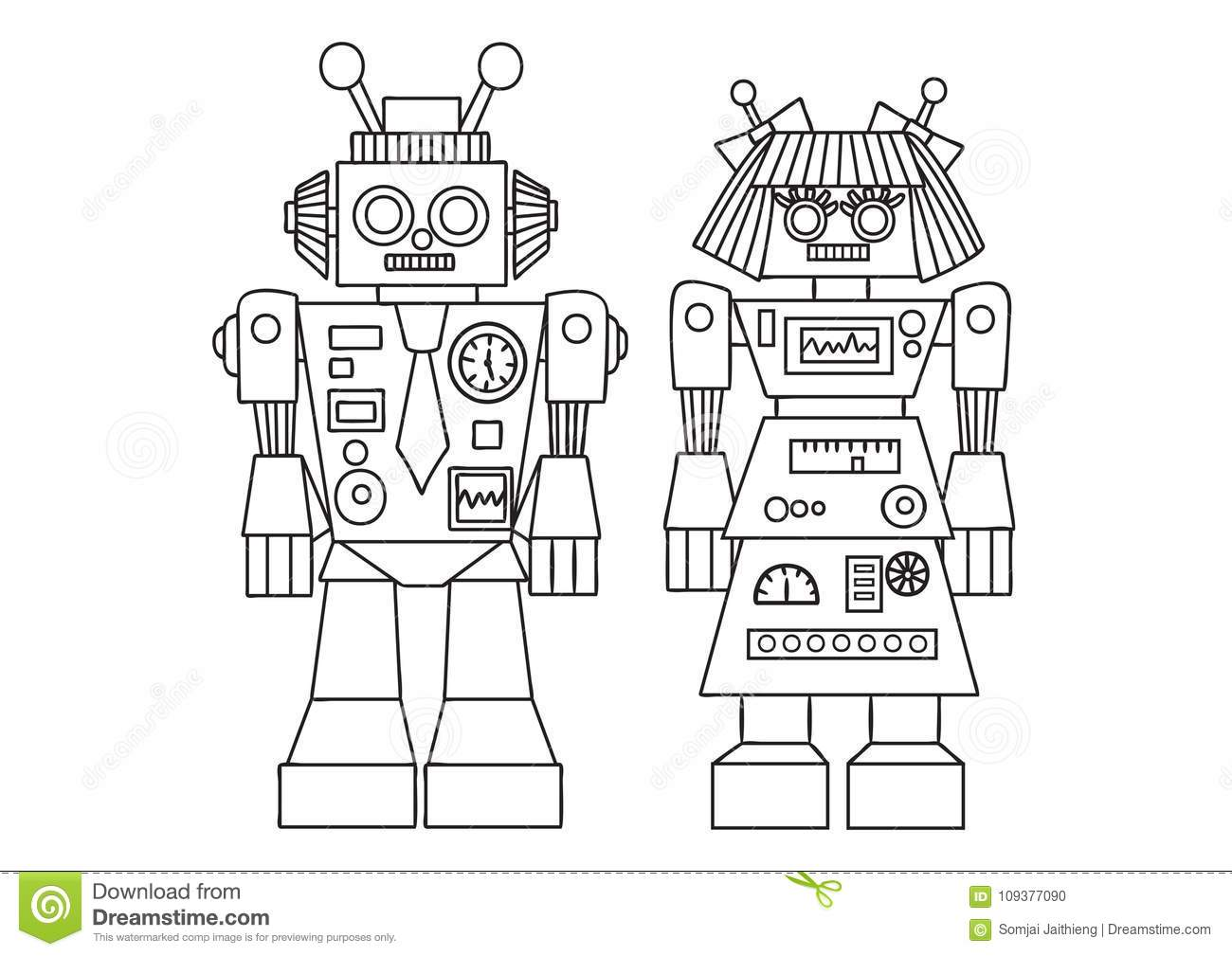 Hand drawn cute robot for design element and coloring book page for both kids and adults. Vector illustration