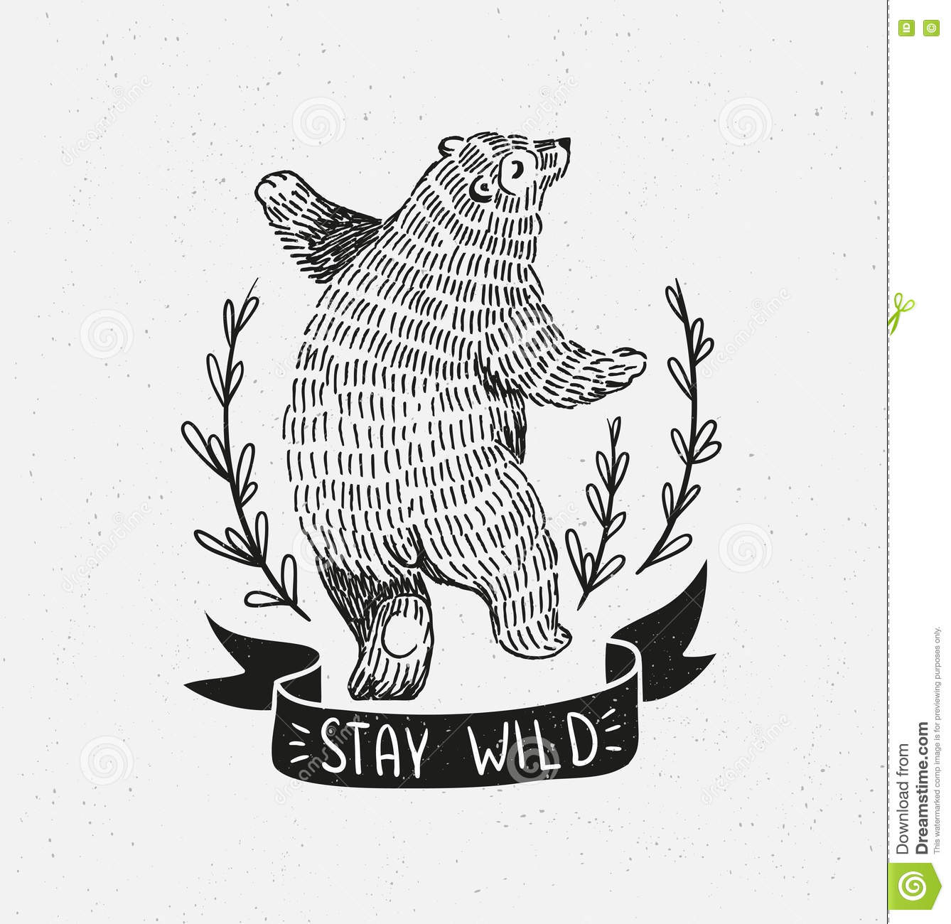 Hand drawn dancing bear. Vector sketch illustration.