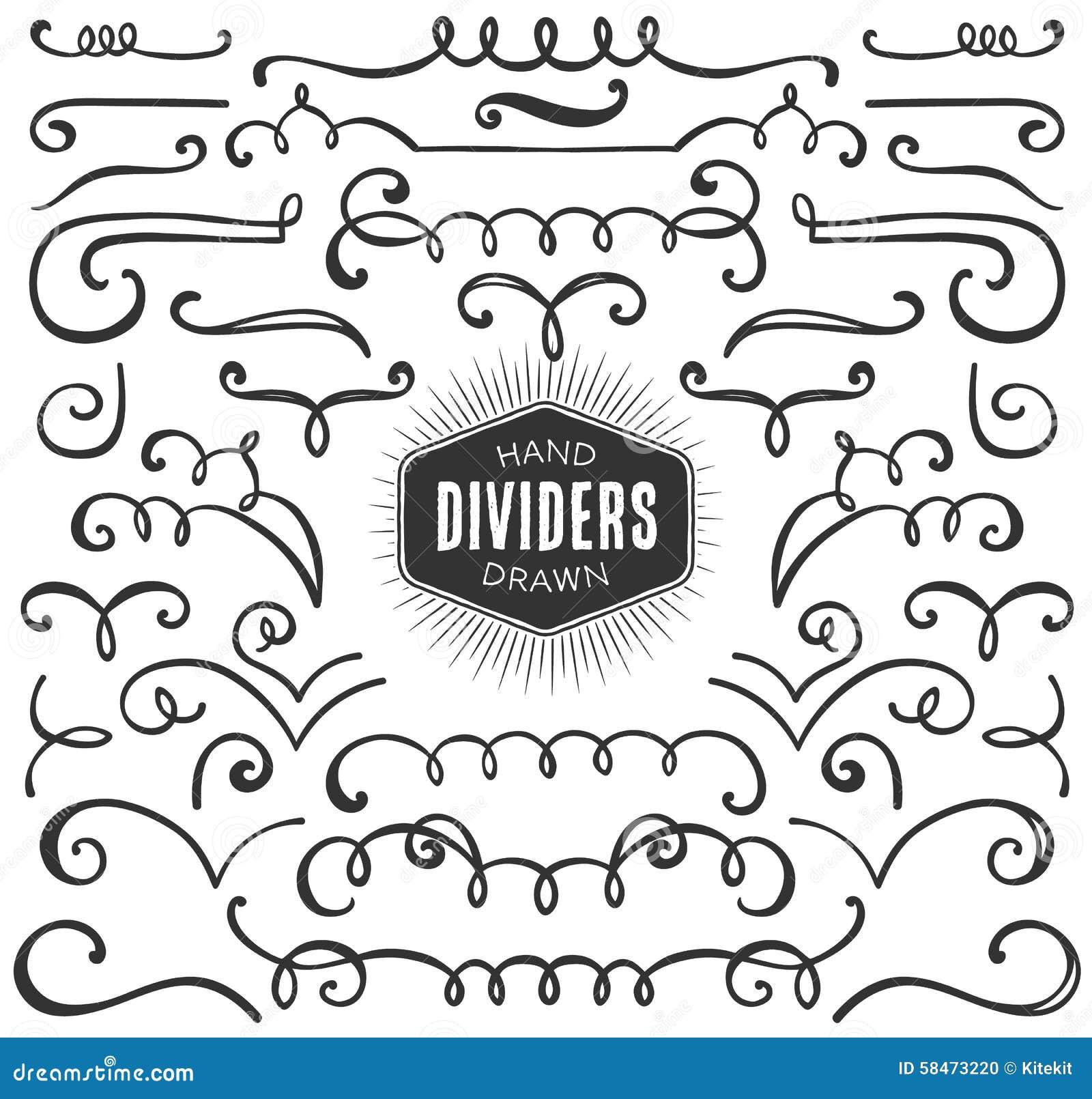 Hand Drawn Decorative Curls, Swirls, Dividers Collection ...
