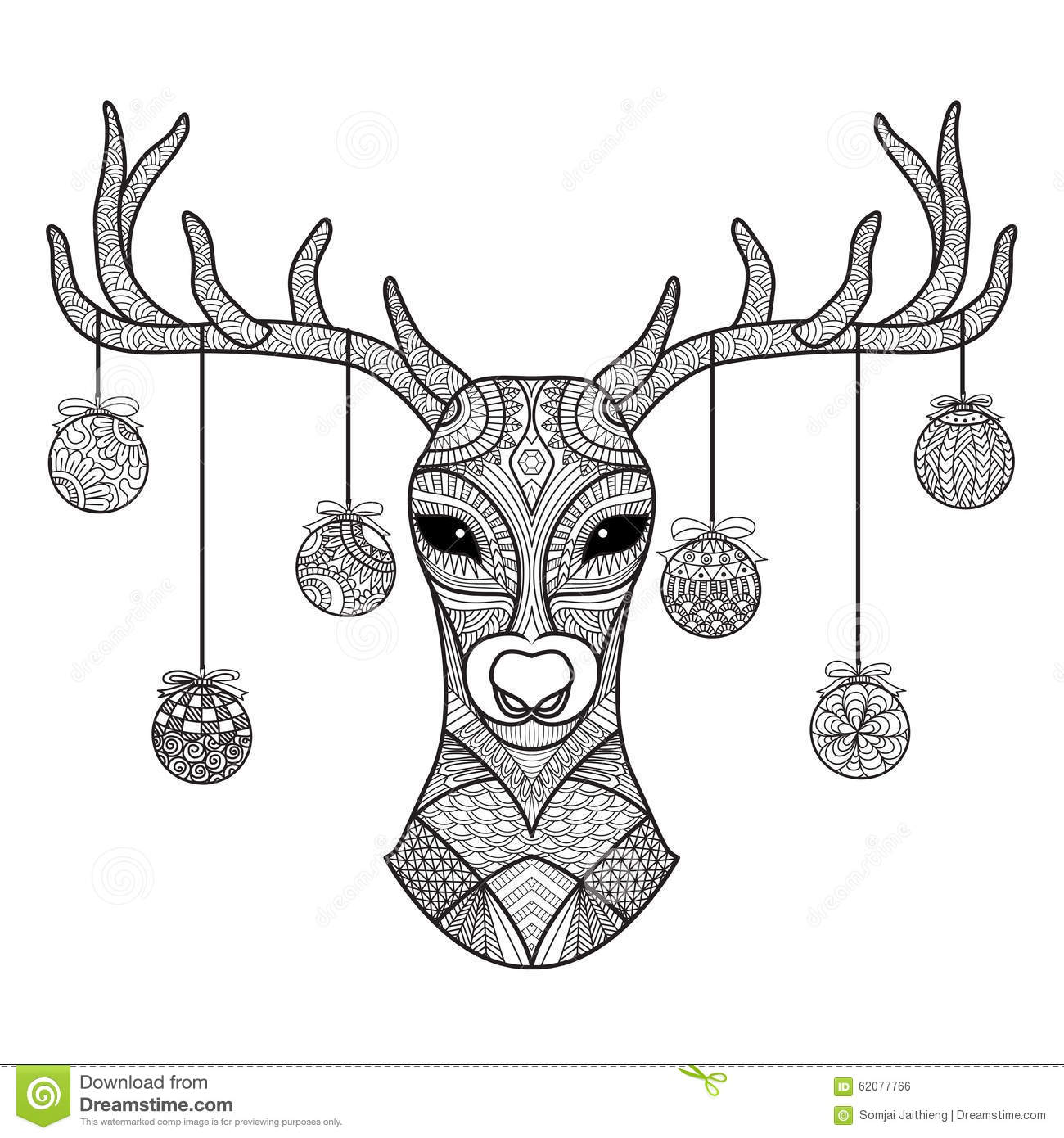 hand drawn deer head with christmas balls hanging on its horn for coloring book