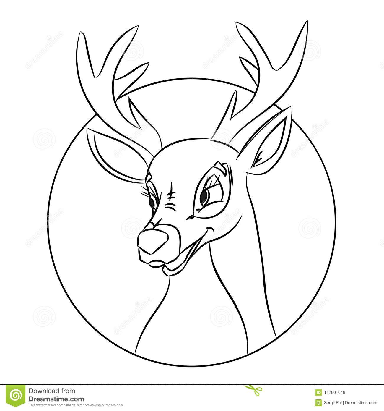 Hand Drawn Deer Head Coloring Page, Picture Made In Classic Cartoon ...
