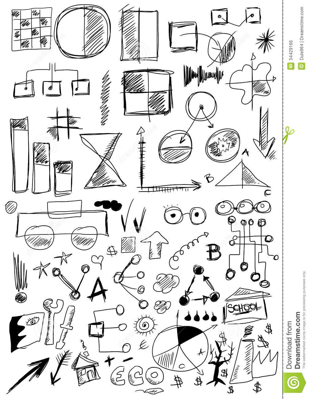 hand drawn design elements business stock illustration