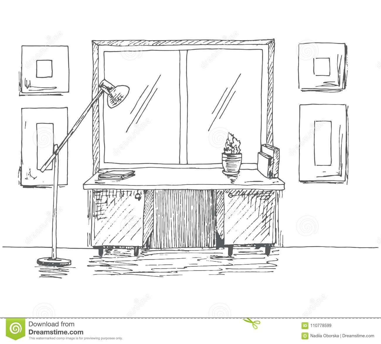 hand drawn desk in front of the window next floor lamp vector