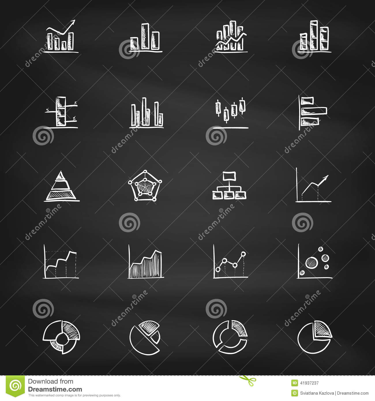 Hand Drawn Diagram Icons On Blackboard Stock Vector