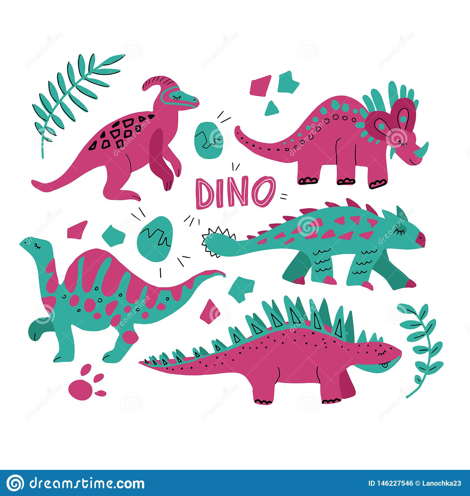 Hand drawn dinosaurs set and tropical leaves. Cute funny cartoon dino collection. Hand drawn vector set for kids design. Vector