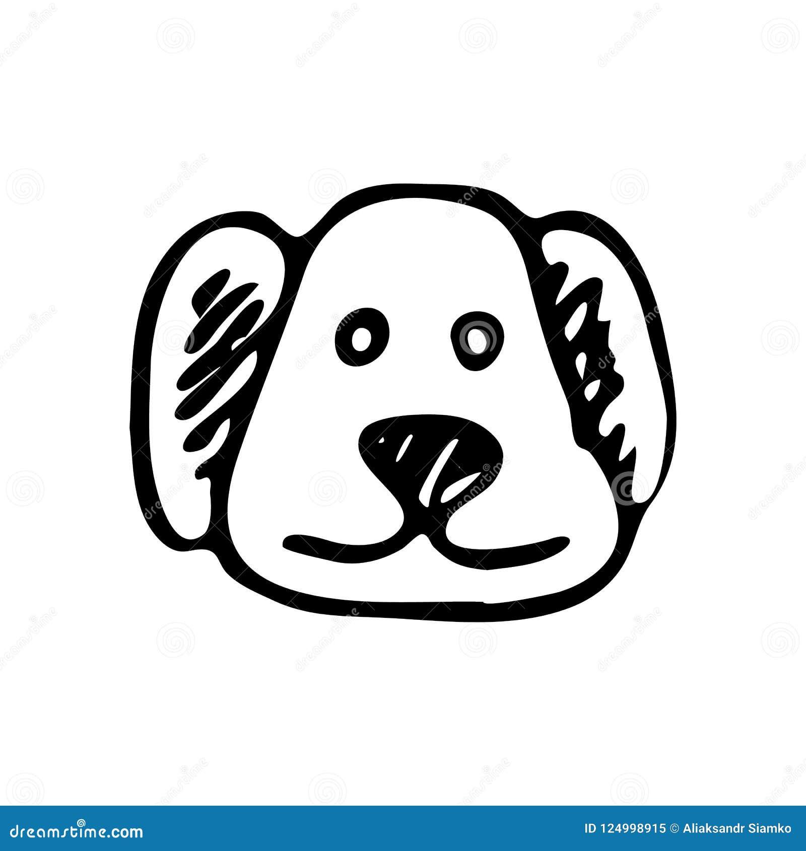 Hand Drawn Dog Face Doodle Sketch Pets Icon Decoration Element