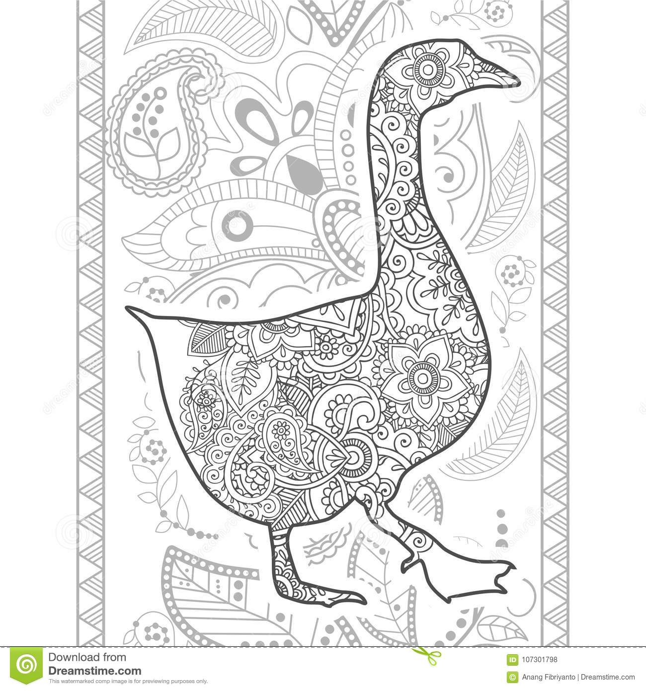 Hand drawn doodle animal paisley adult stress release coloring page zentangle 2