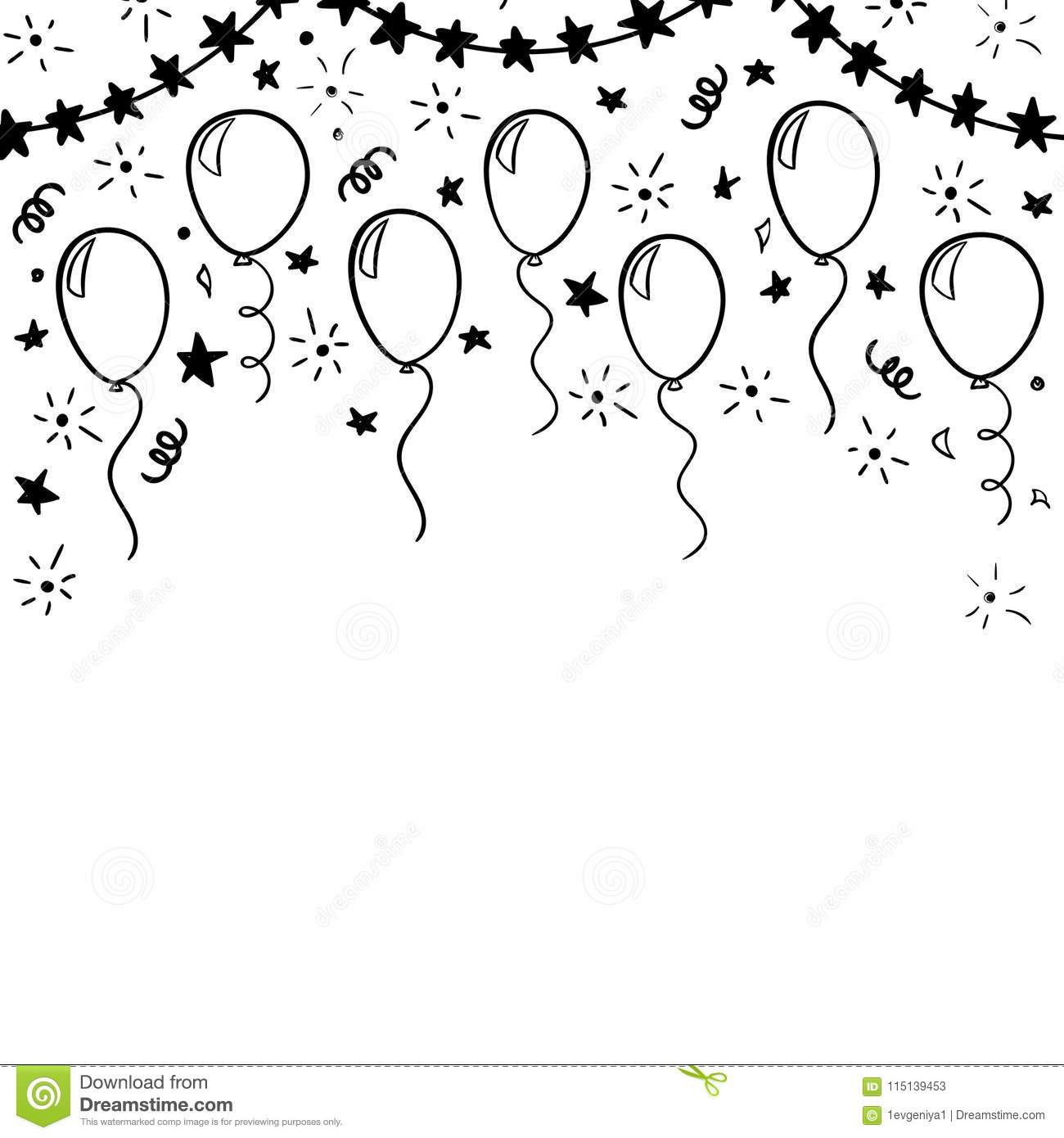 Hand Drawn Doodle Black And White Balloon. Design Holiday Greeting ...