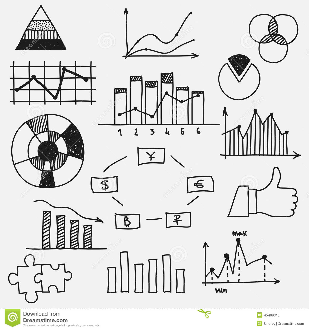 Drawing Line Graphs By Hand : Hand drawn doodle business sketches finance stock vector