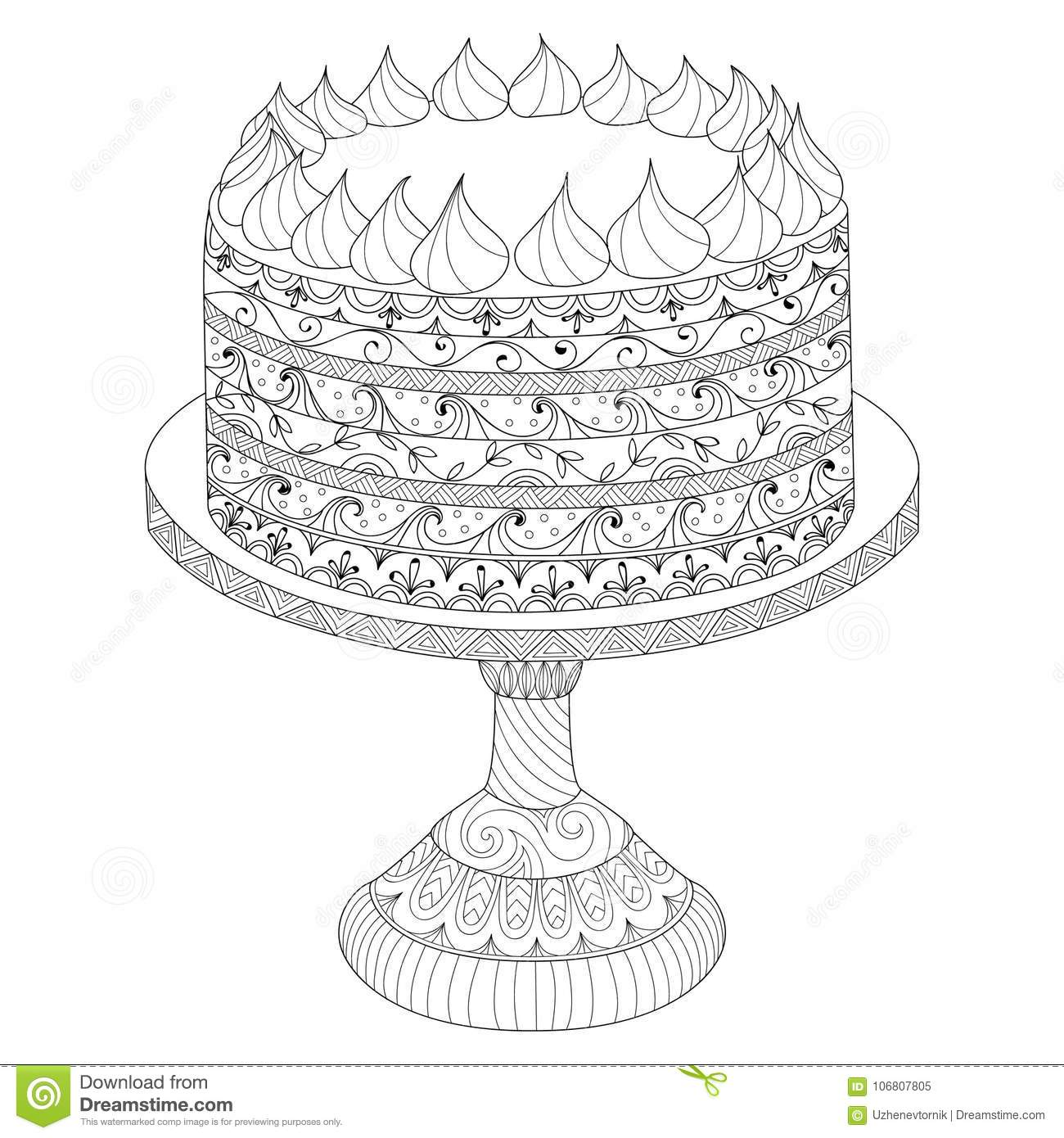 Hand Drawn Cake For Coloring Book Stock Vector - Illustration of ...