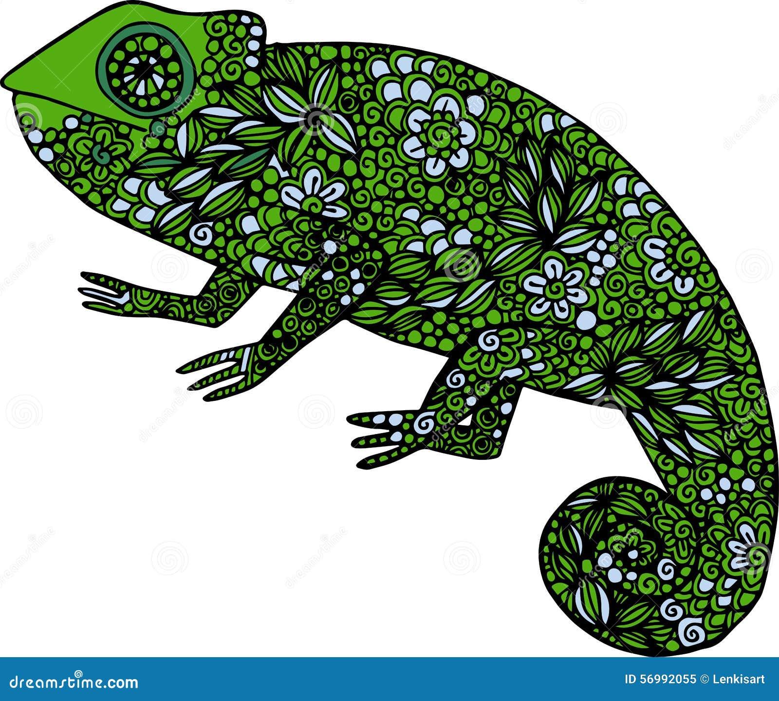 Chameleon Outline Tattoo: Hand Drawn Doodle Colorful Chameleon Illustration