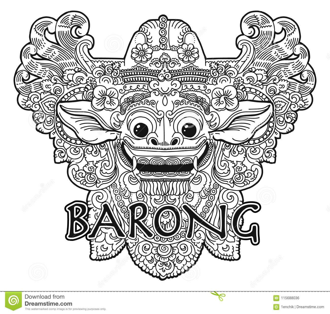 Hand Drawn Doodle Coloring Book Style Barong Balinese Demon Vector ...